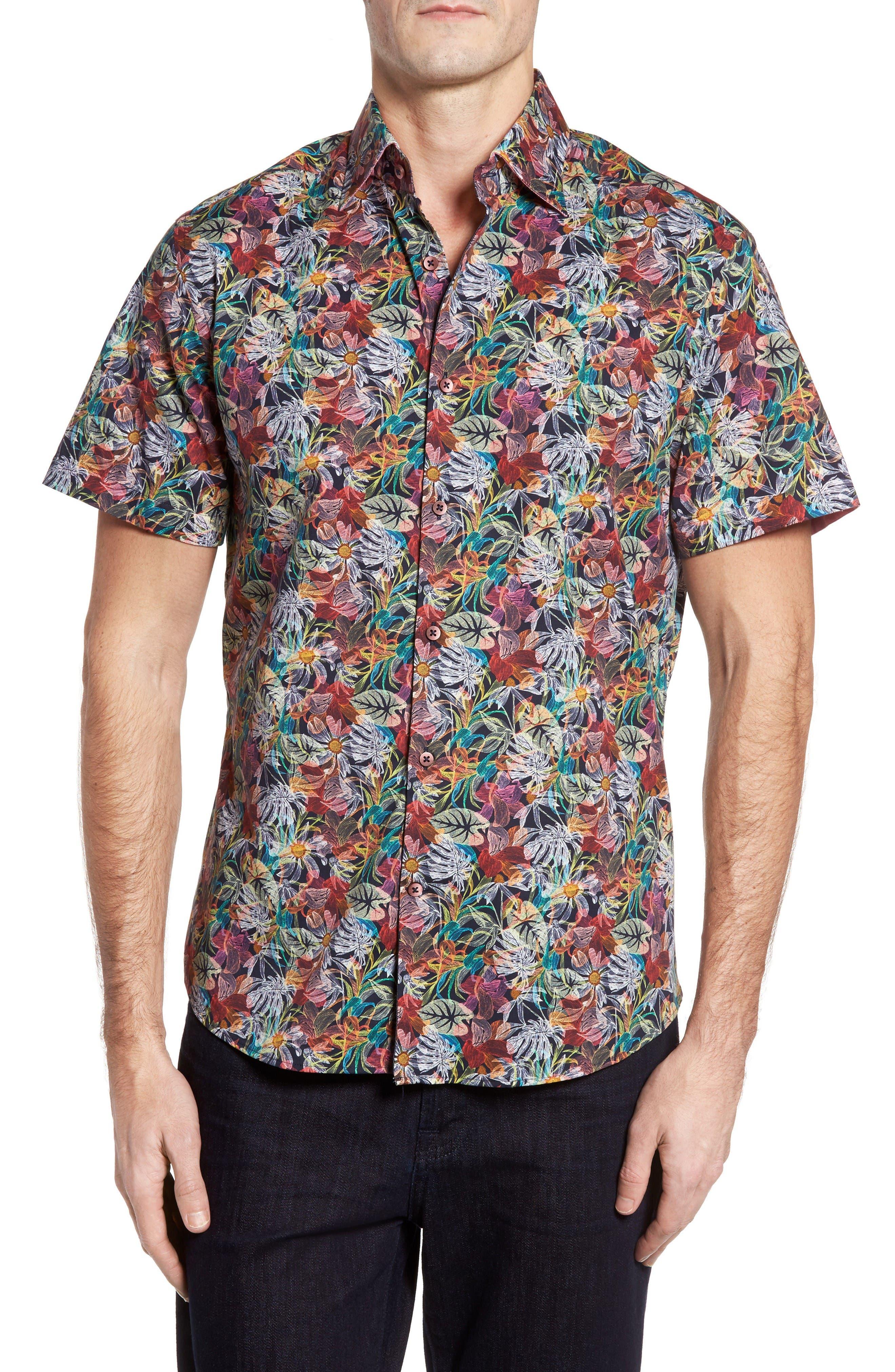 Slim Fit Floral Print Sport Shirt,                         Main,                         color, Pink