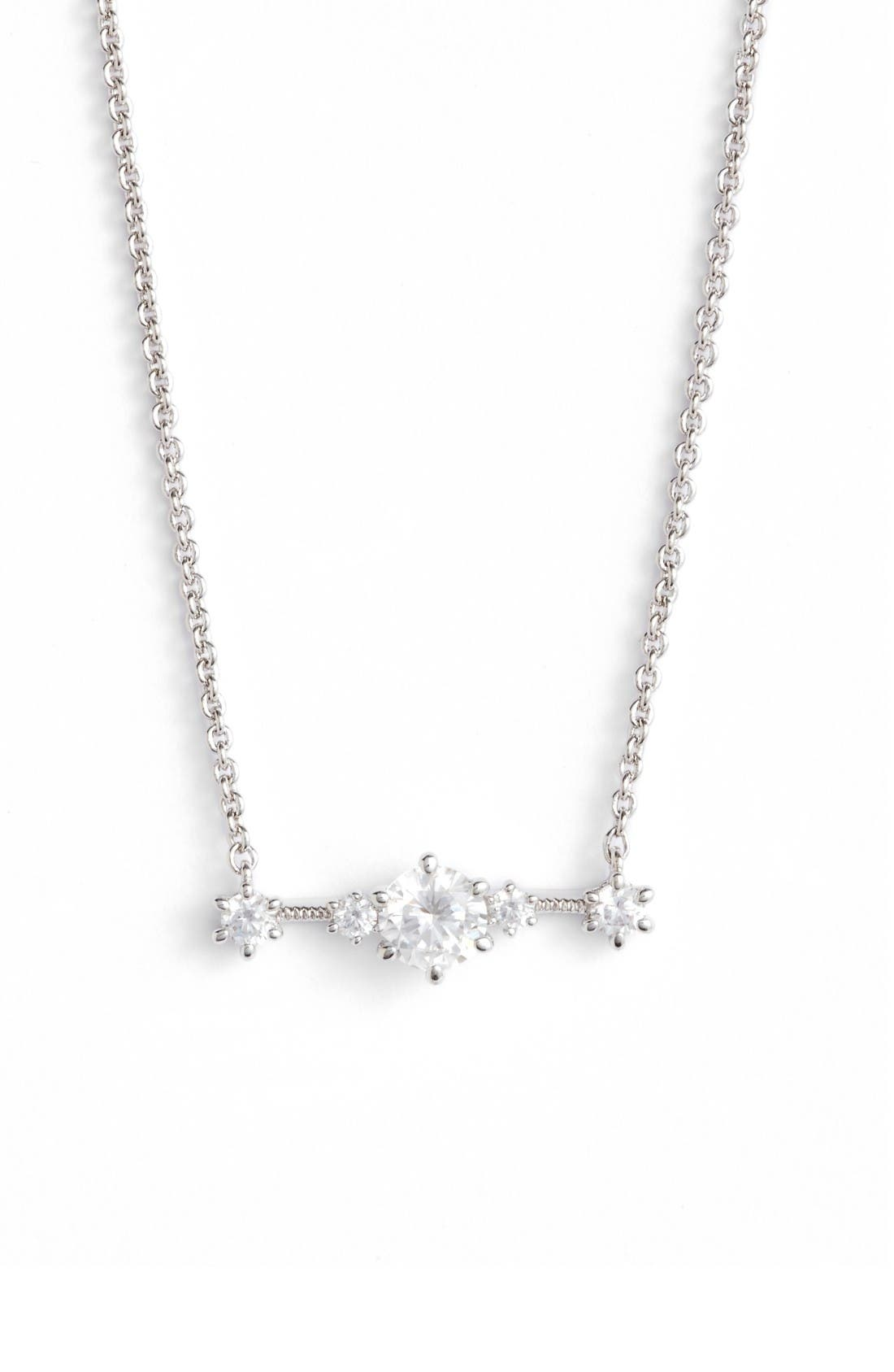 Edwardian Crystal Bar Necklace,                         Main,                         color, Silver