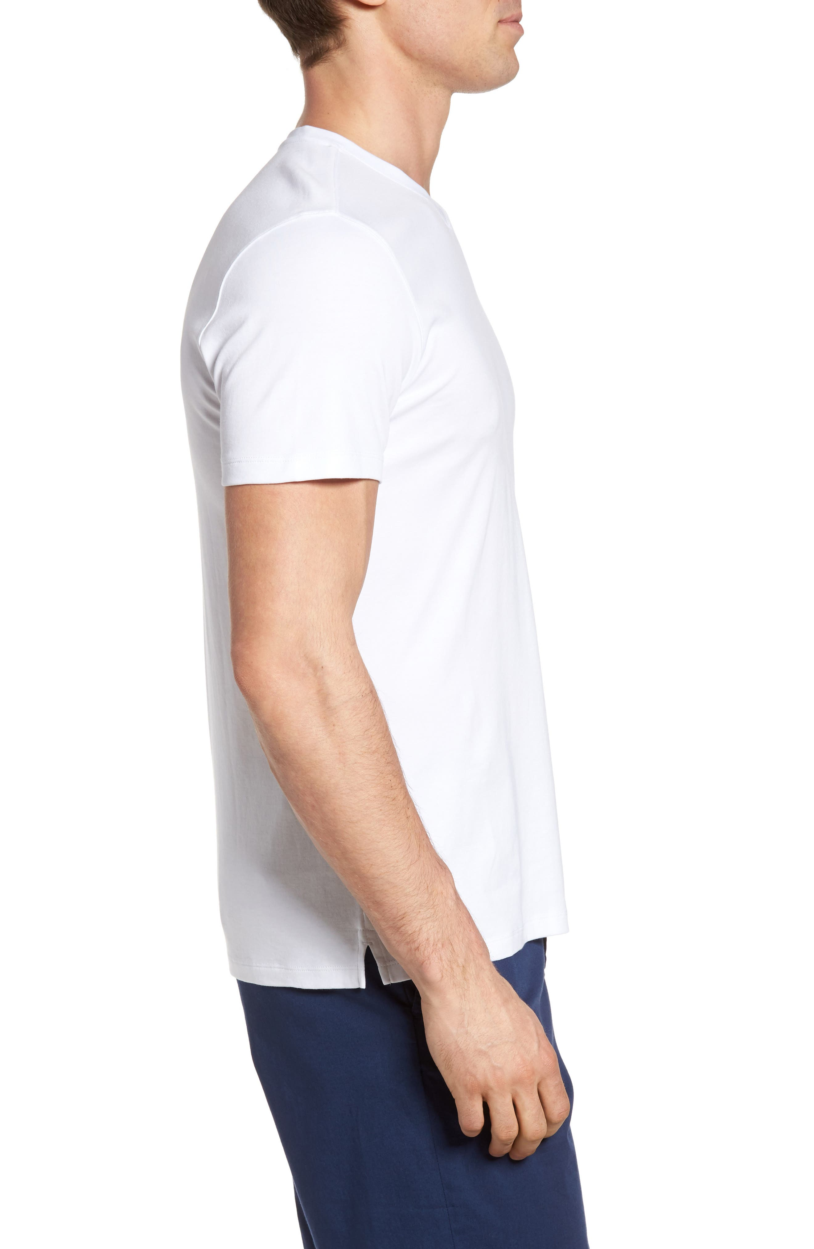 Georgia Regular Fit V-Neck T-Shirt,                             Alternate thumbnail 3, color,                             White