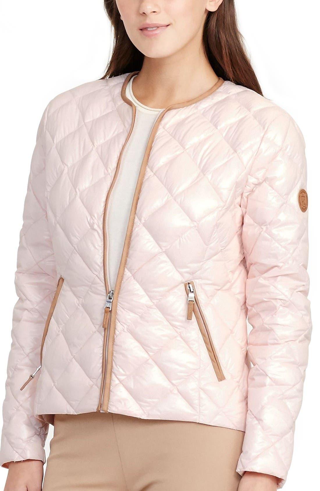 Lauren Ralph Lauren Quilted Collarless Down Jacket