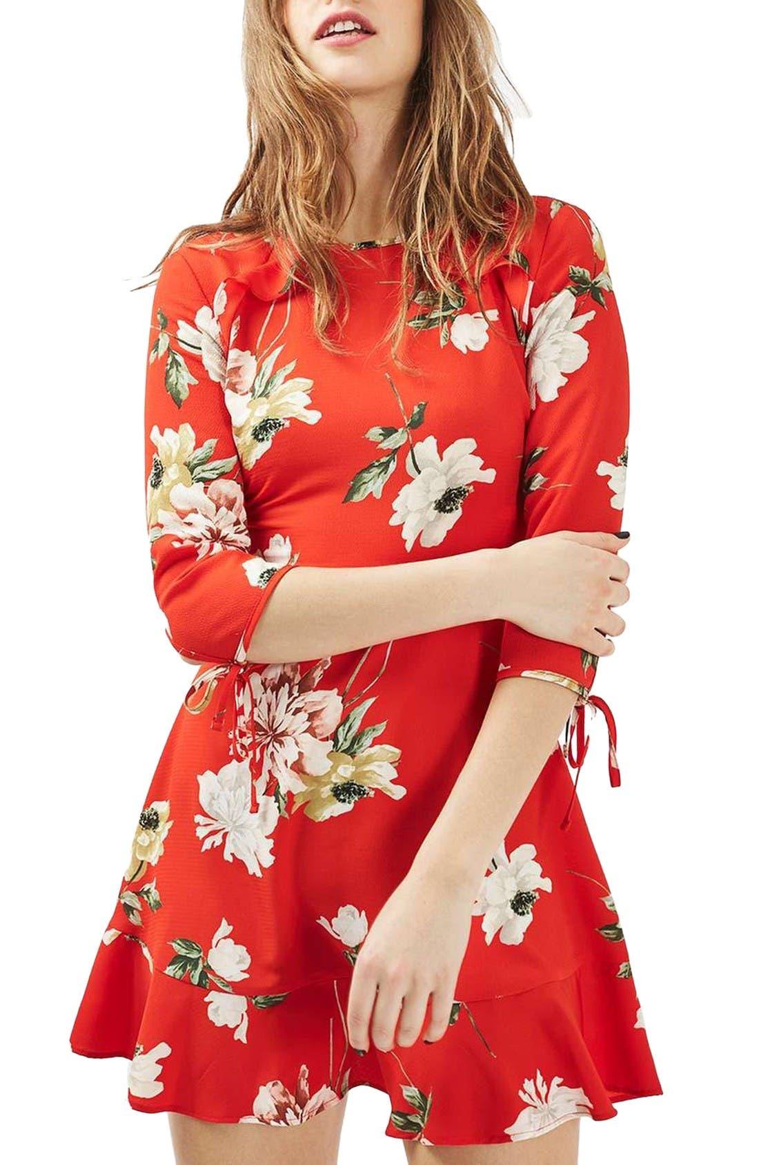 Ruffle Floral Tea Dress,                             Main thumbnail 1, color,                             Red Multi