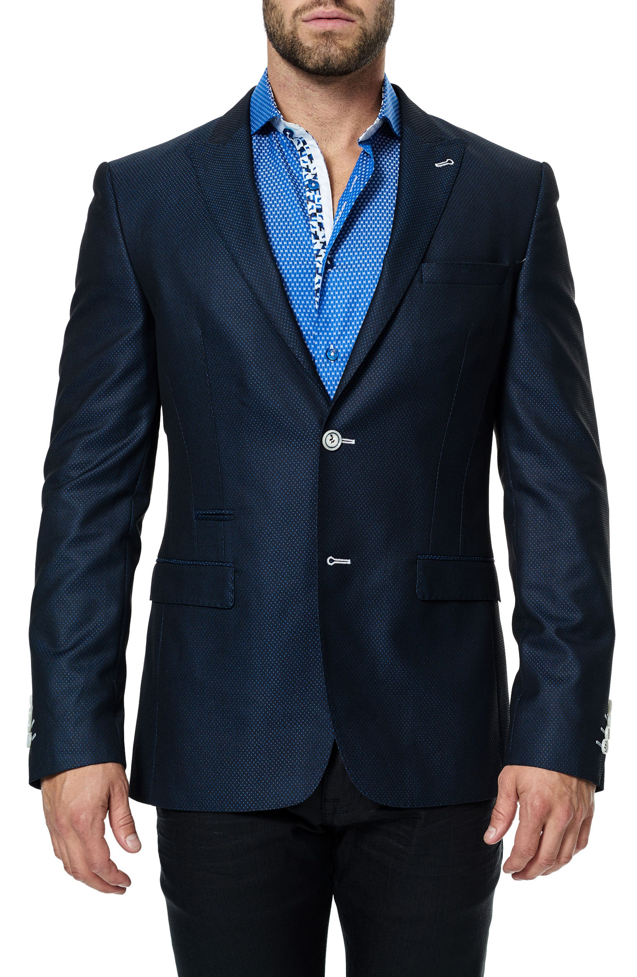 Maceoo Elegance Blue Dot Sport Coat