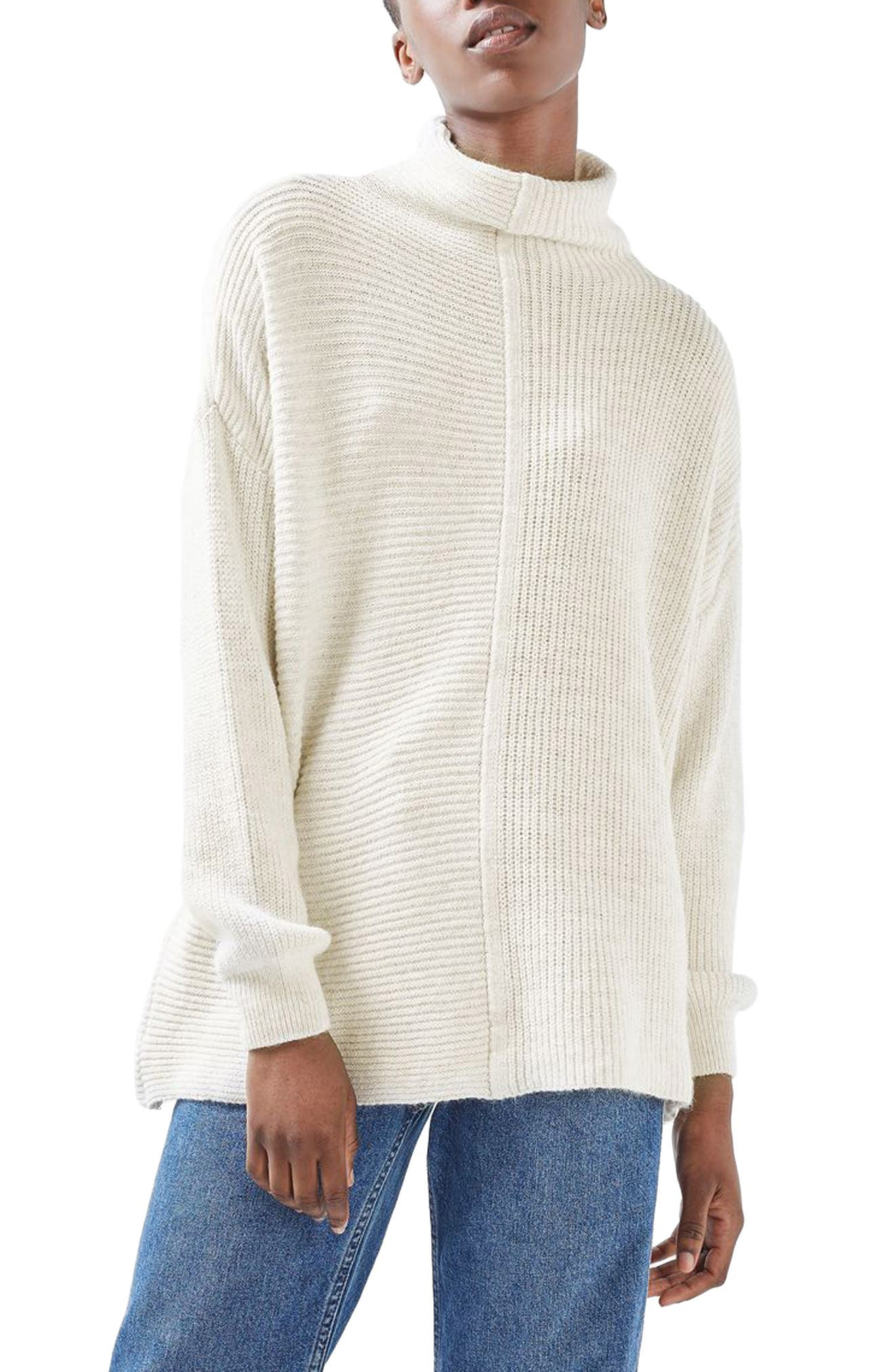 Main Image - Topshop Funnel Neck Mixed Knit Sweater (Regular & Petite)