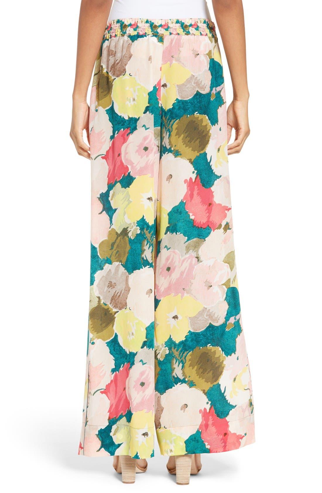 Alternate Image 2  - Lafayette 148 New York Floral Silk Drawstring Pants
