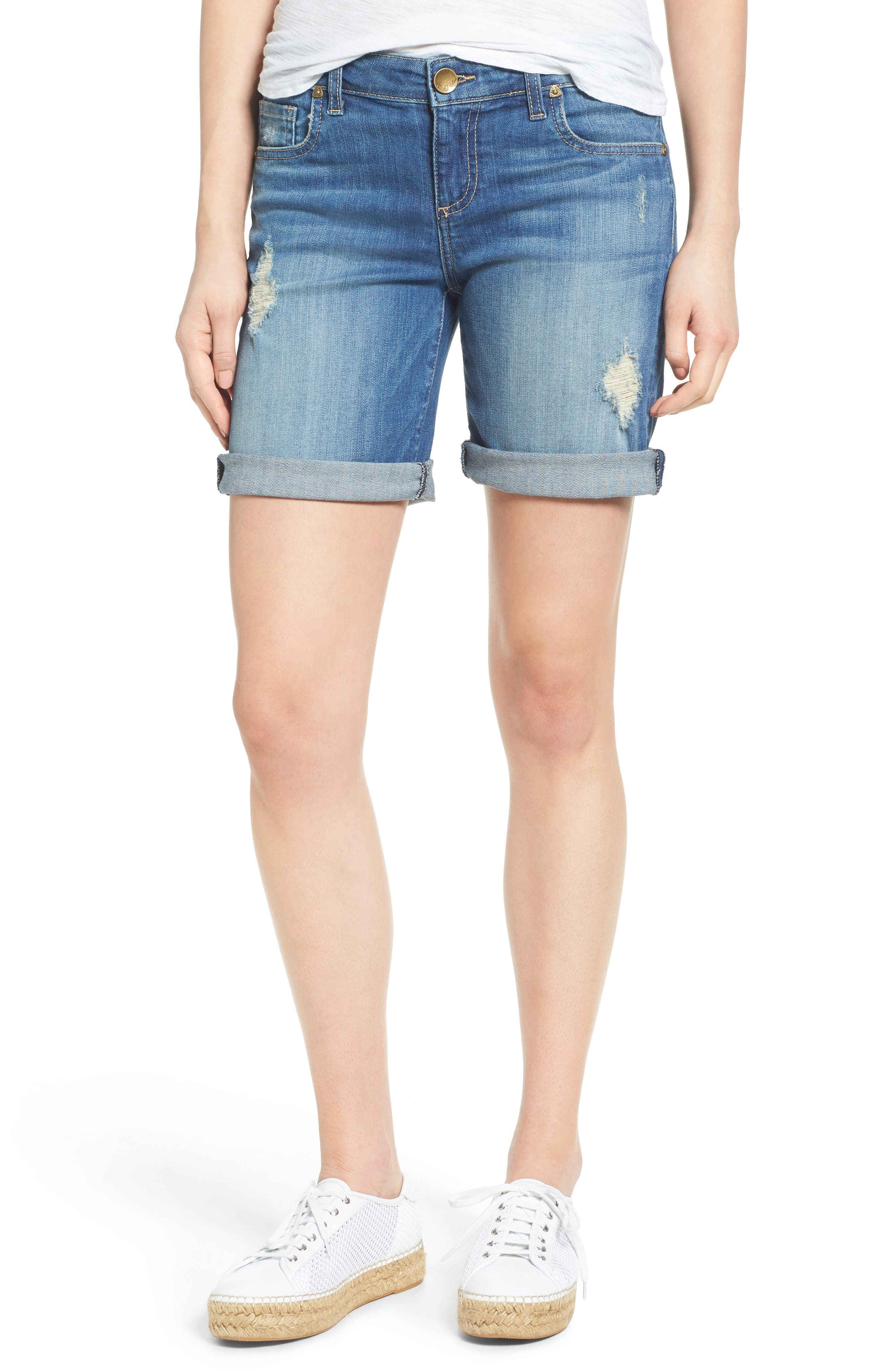 KUT from the Kloth Catherine Distressed Denim Boyfriend Shorts