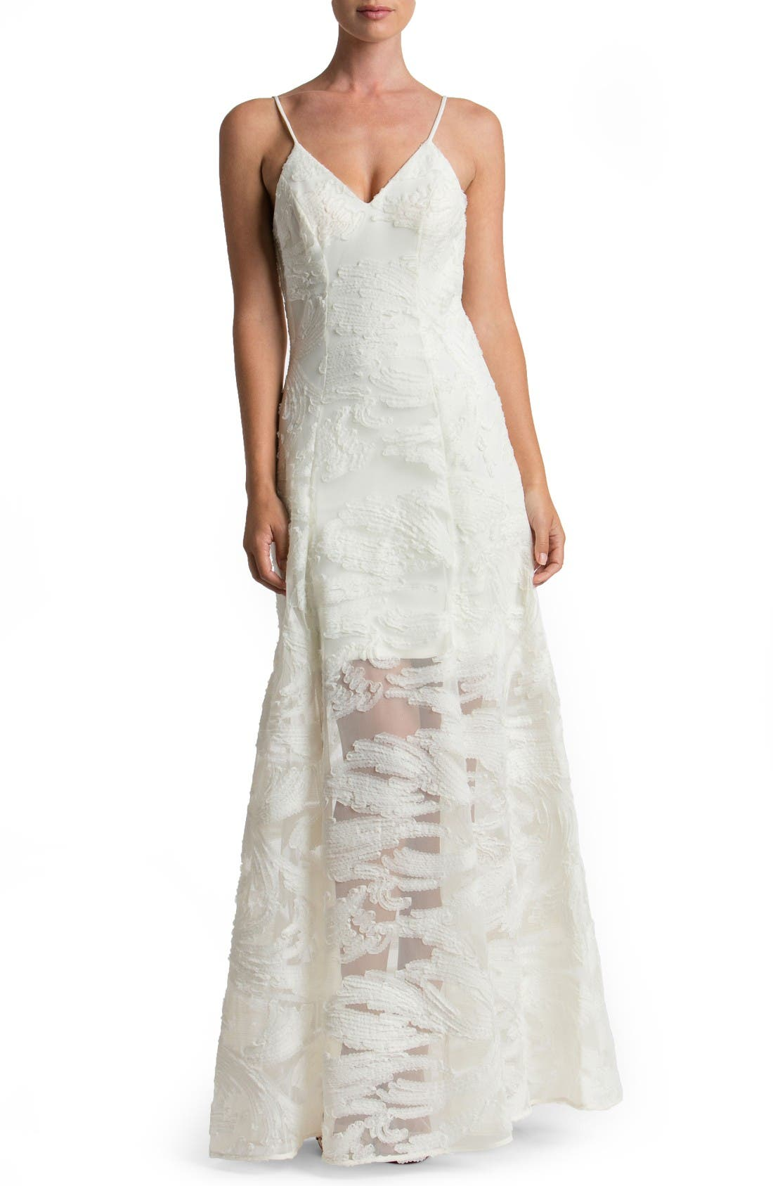 'Florence' Woven Fit & Flare Gown,                         Main,                         color, Ivory