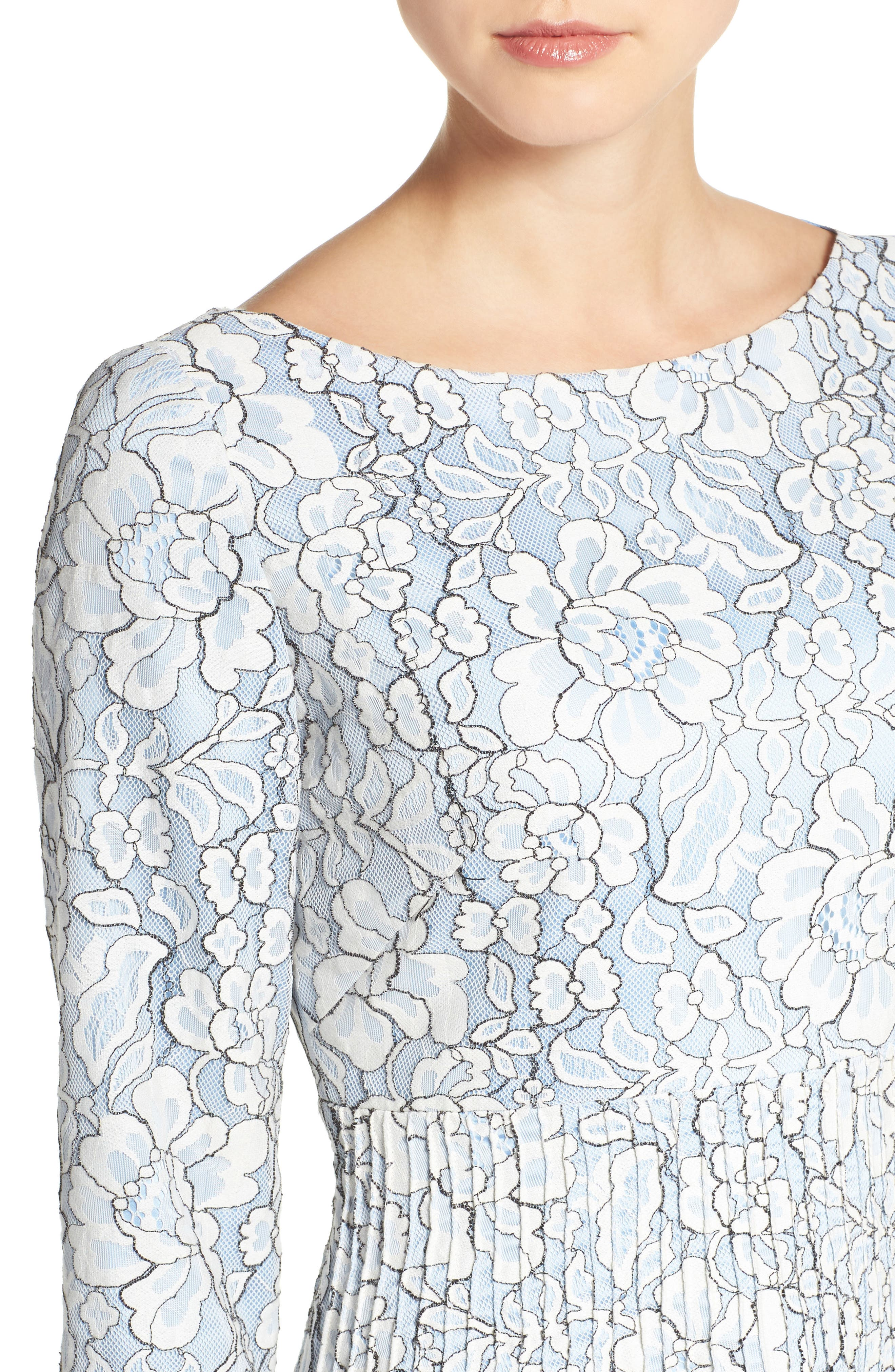 Embroidered Floral Fit & Flare Dress,                             Alternate thumbnail 6, color,                             Ivory/ Blue