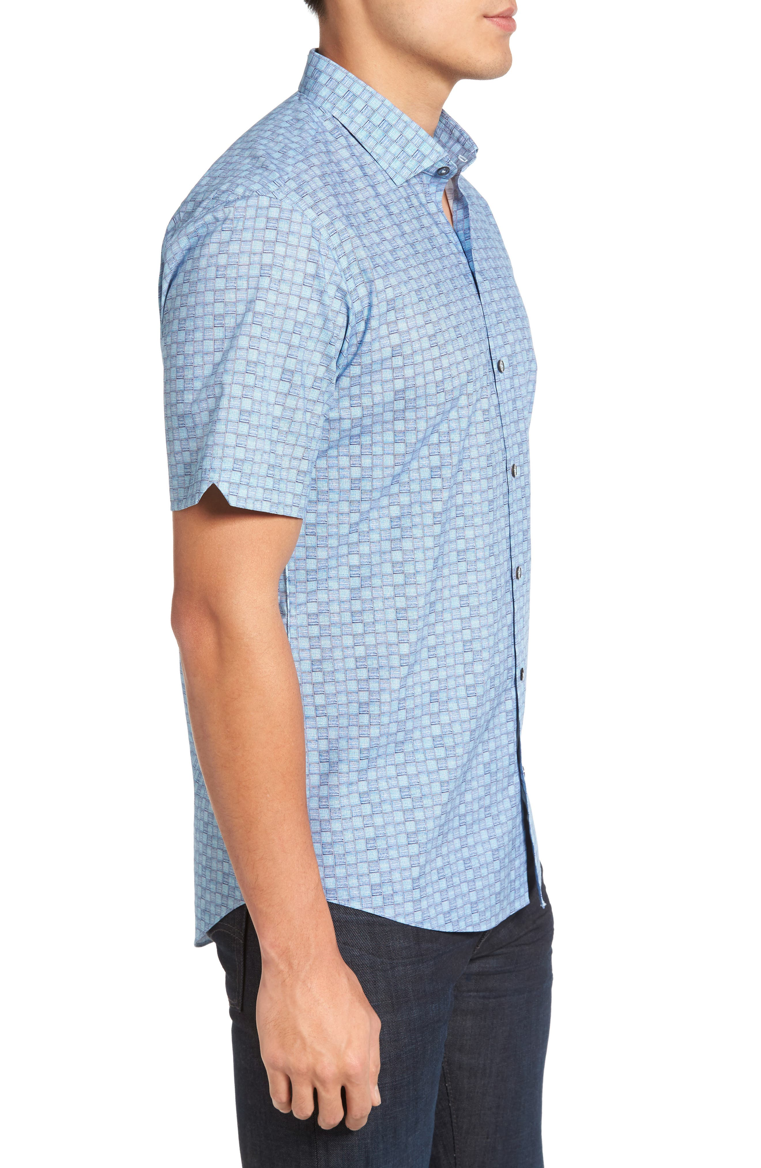 Caringella Check Sport Shirt,                             Alternate thumbnail 4, color,                             Turquoise