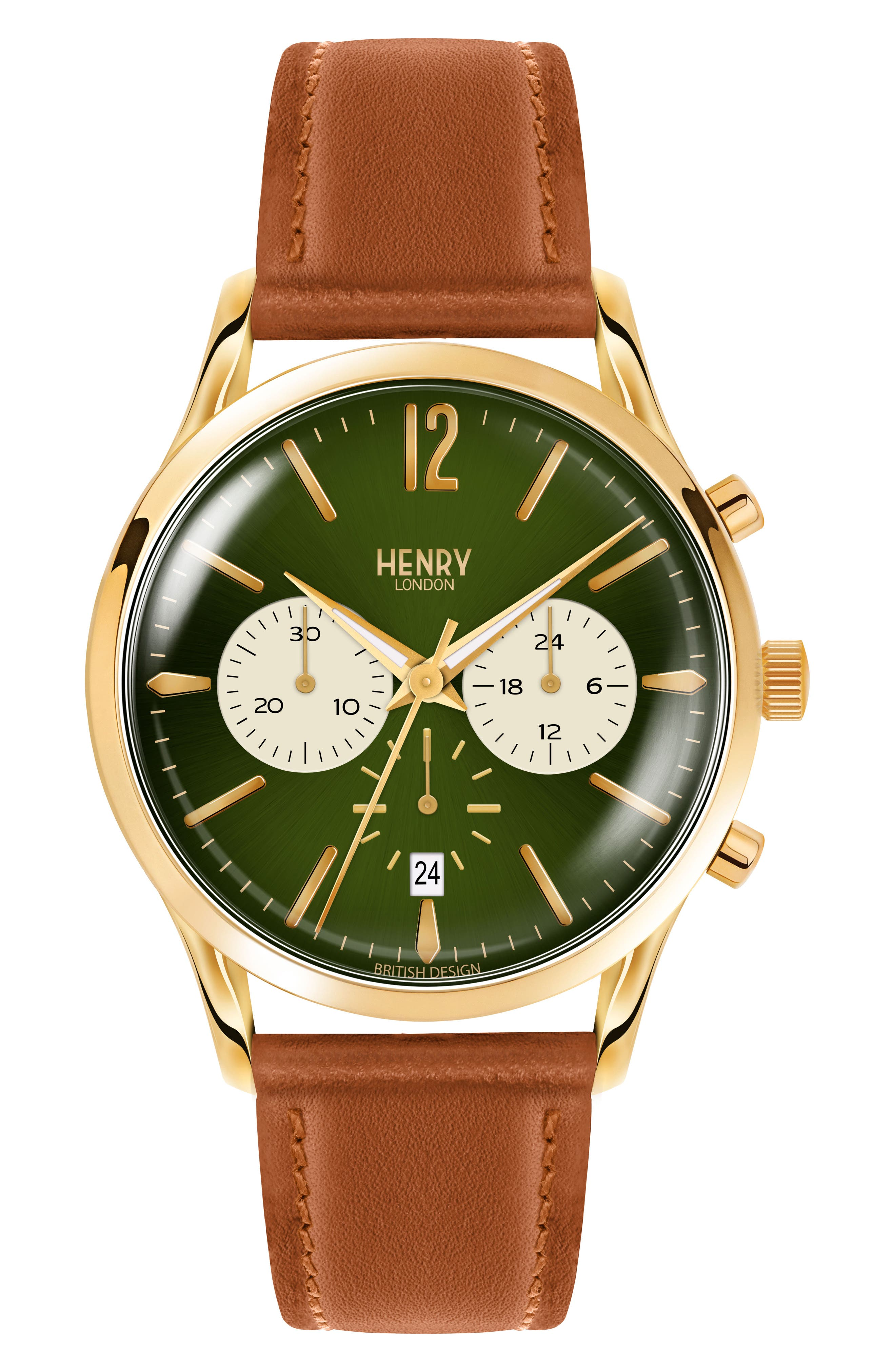 HENRY LONDON Men'S 41Mm Chiswick Chronograph Tan Leather Watch in Brown/ Green/ Gold