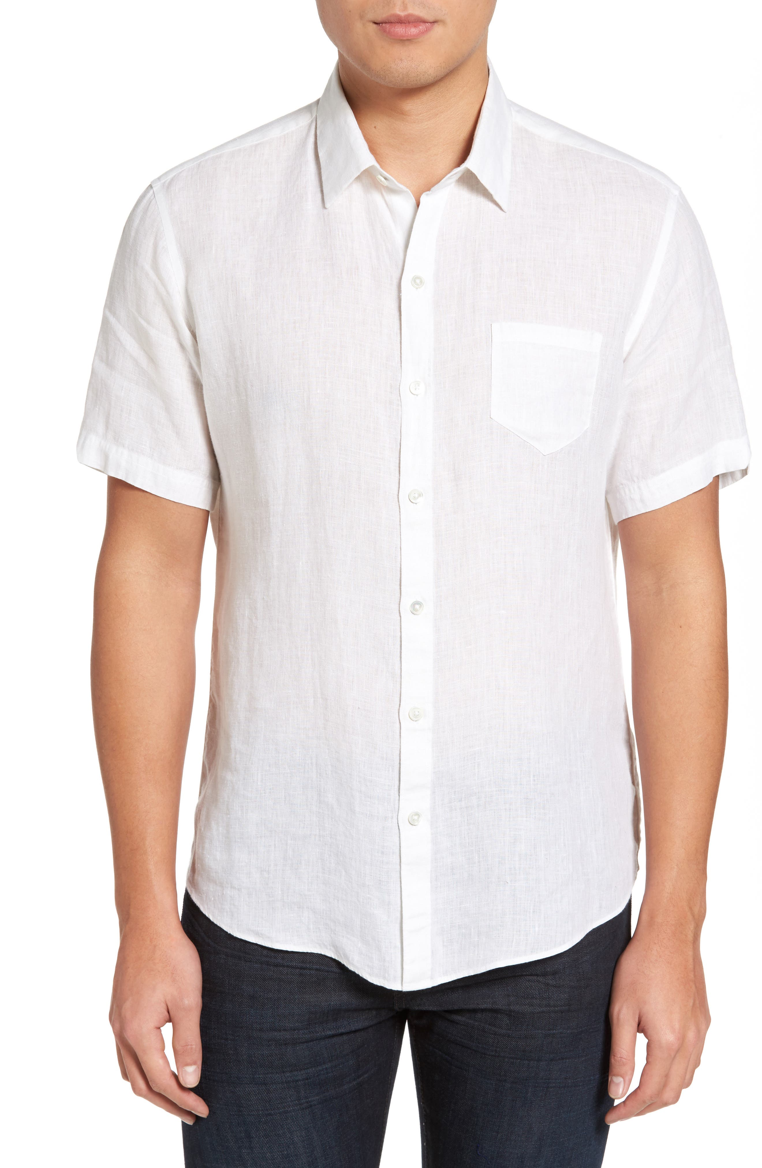 Kaplan Slim Fit Linen Sport Shirt,                             Main thumbnail 1, color,                             White