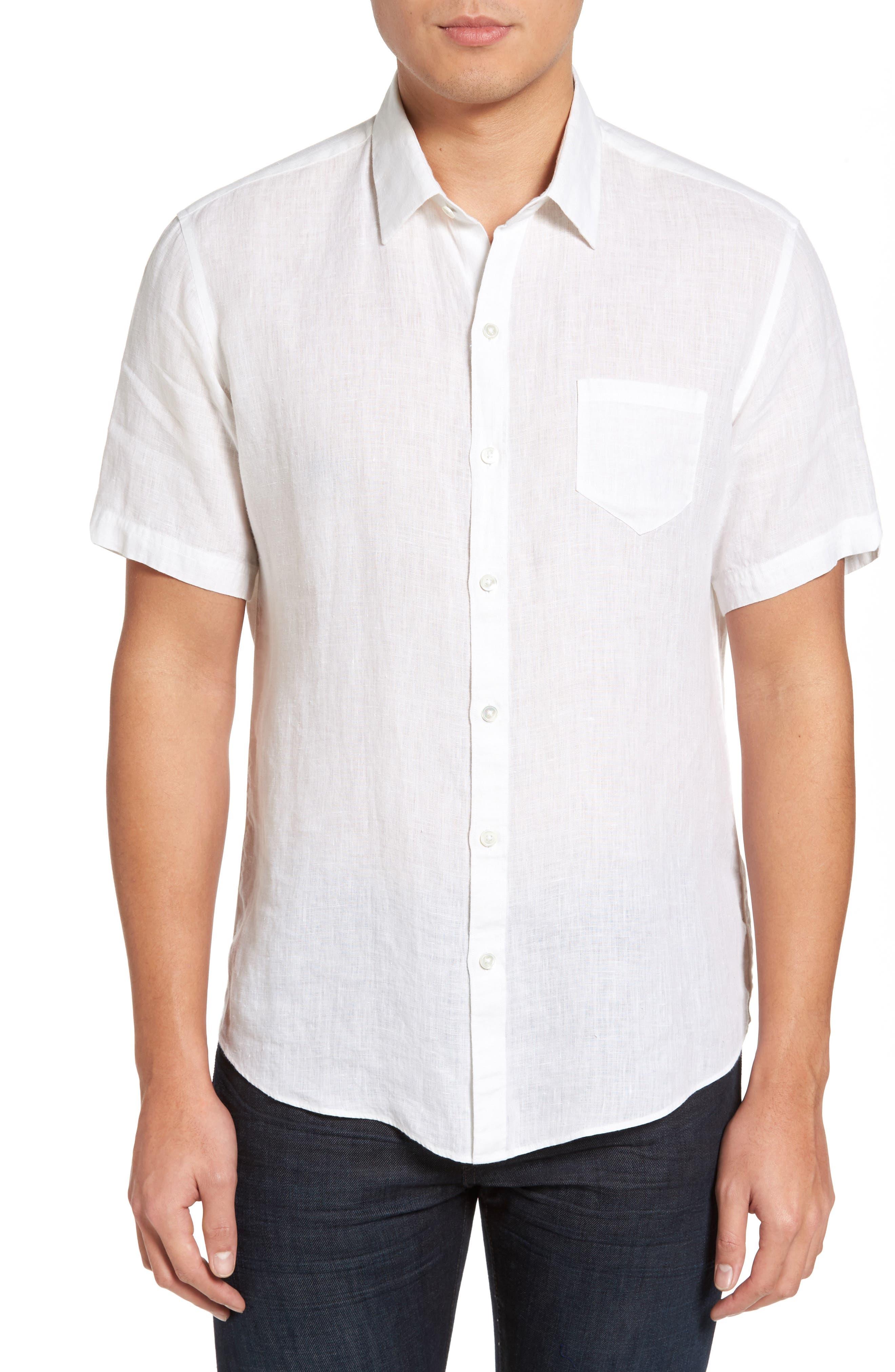 Kaplan Slim Fit Linen Sport Shirt,                         Main,                         color, White