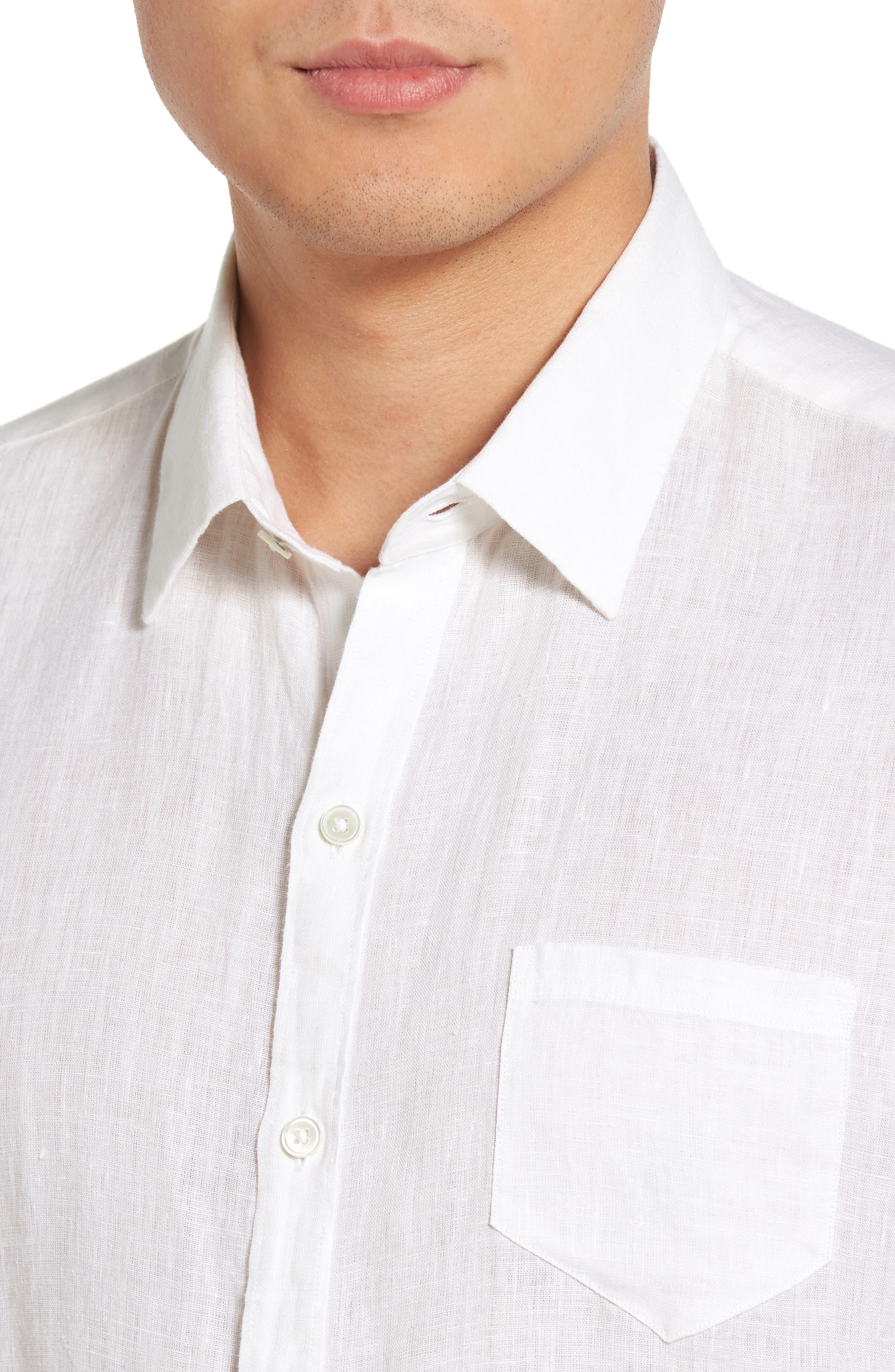 Kaplan Slim Fit Linen Sport Shirt,                             Alternate thumbnail 2, color,                             White