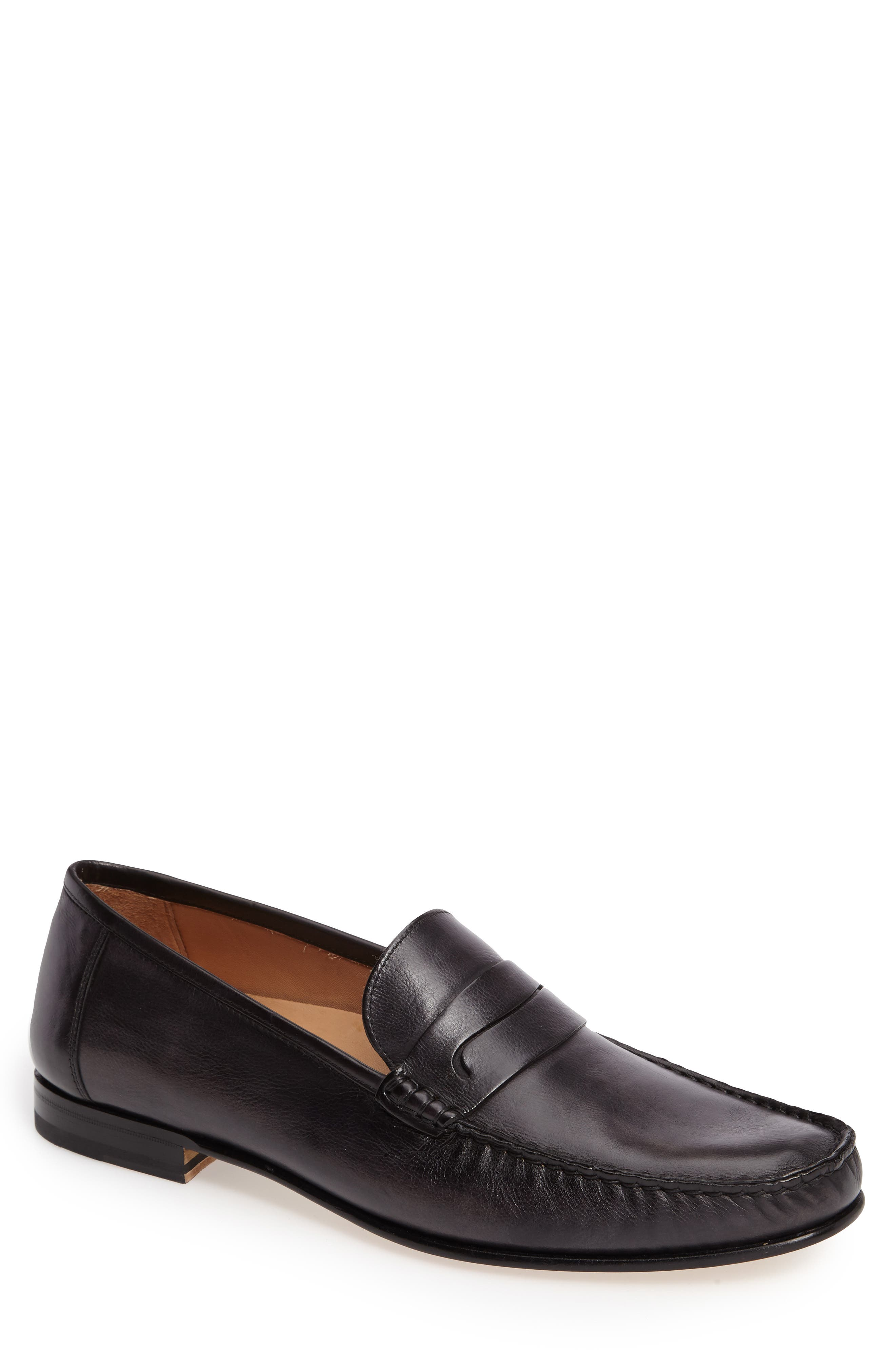Pauli Classic Penny Loafer,                             Main thumbnail 1, color,                             Black Leather