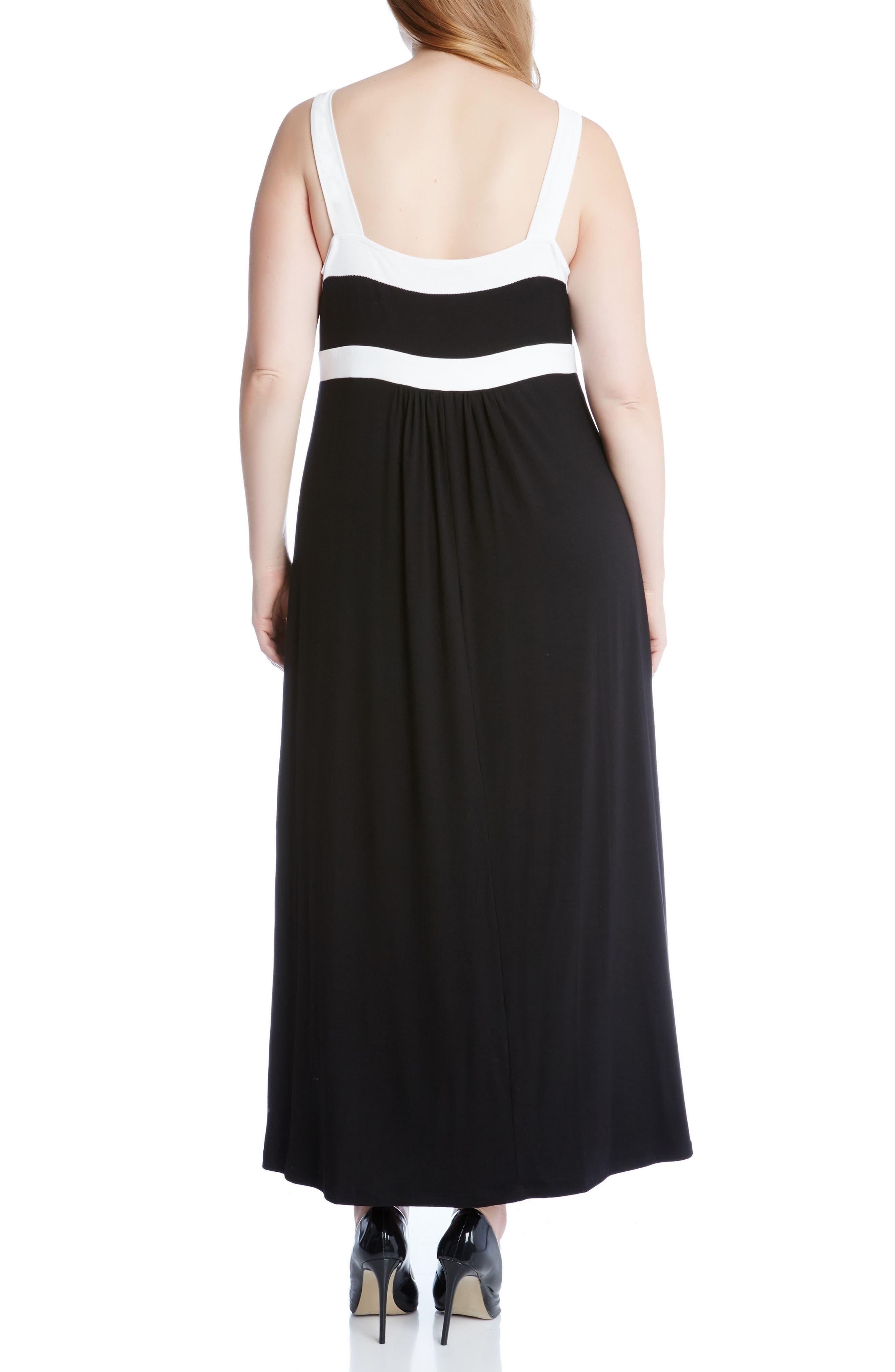 Banded A-Line Maxi Dress,                             Alternate thumbnail 2, color,                             Black