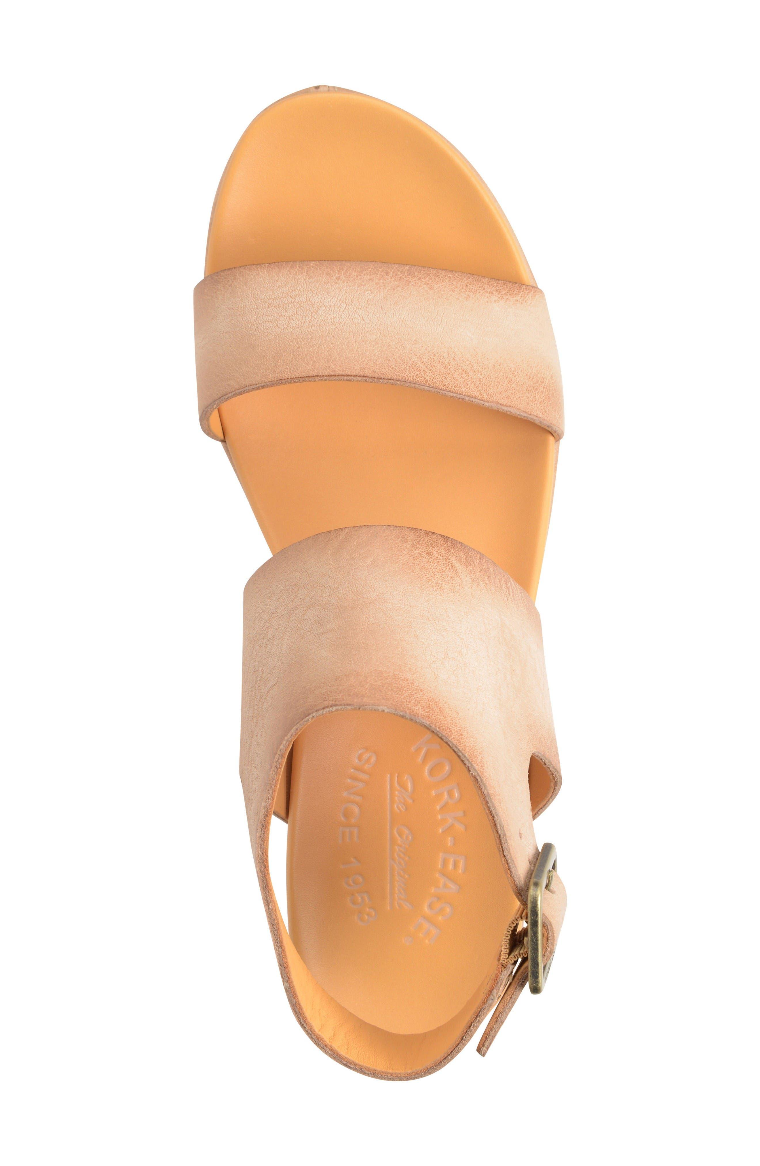 'Khloe' Platform Wedge Sandal,                             Alternate thumbnail 3, color,                             Natural Leather