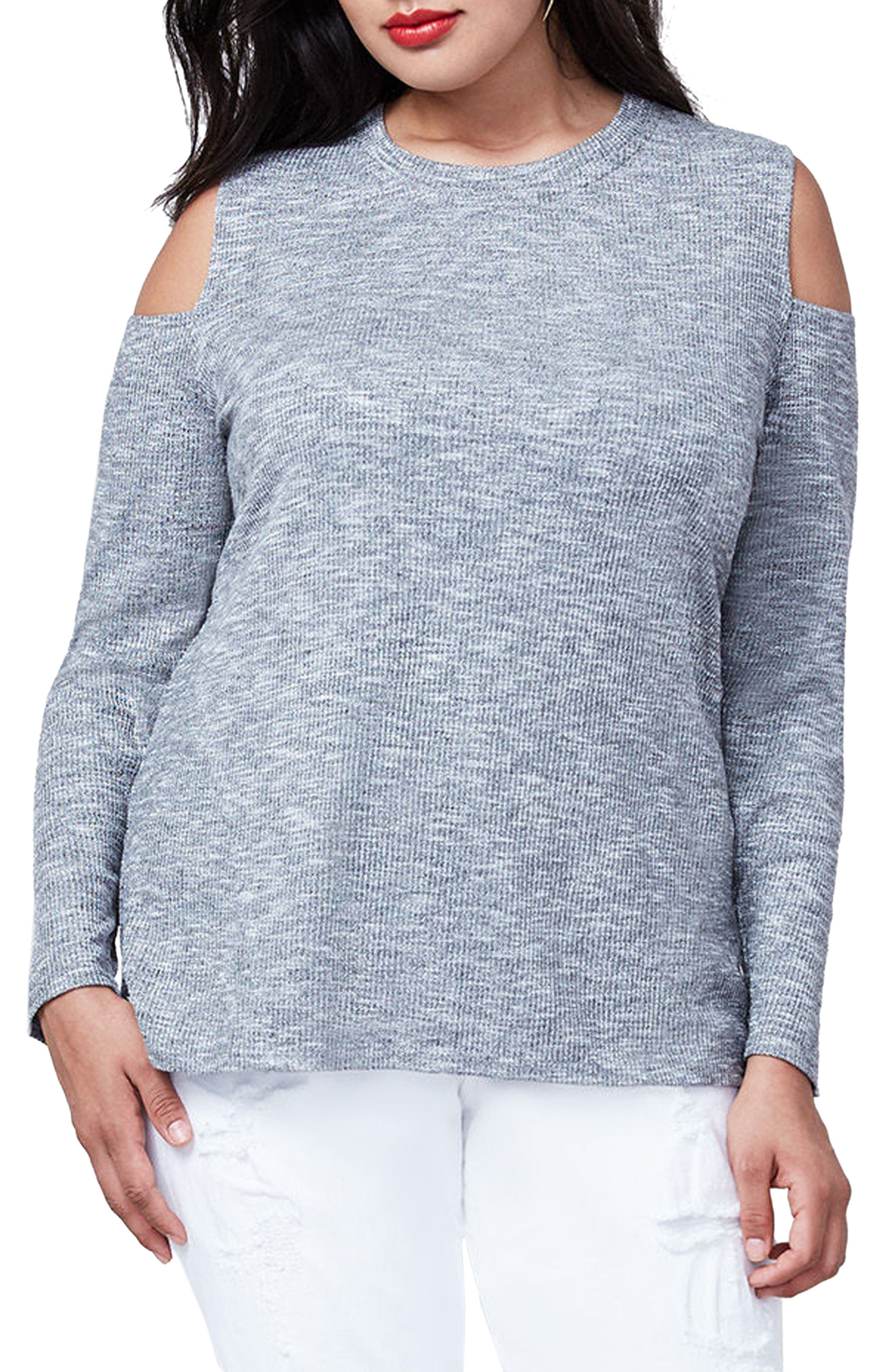 Cold Shoulder Top,                             Main thumbnail 1, color,                             Heather Grey