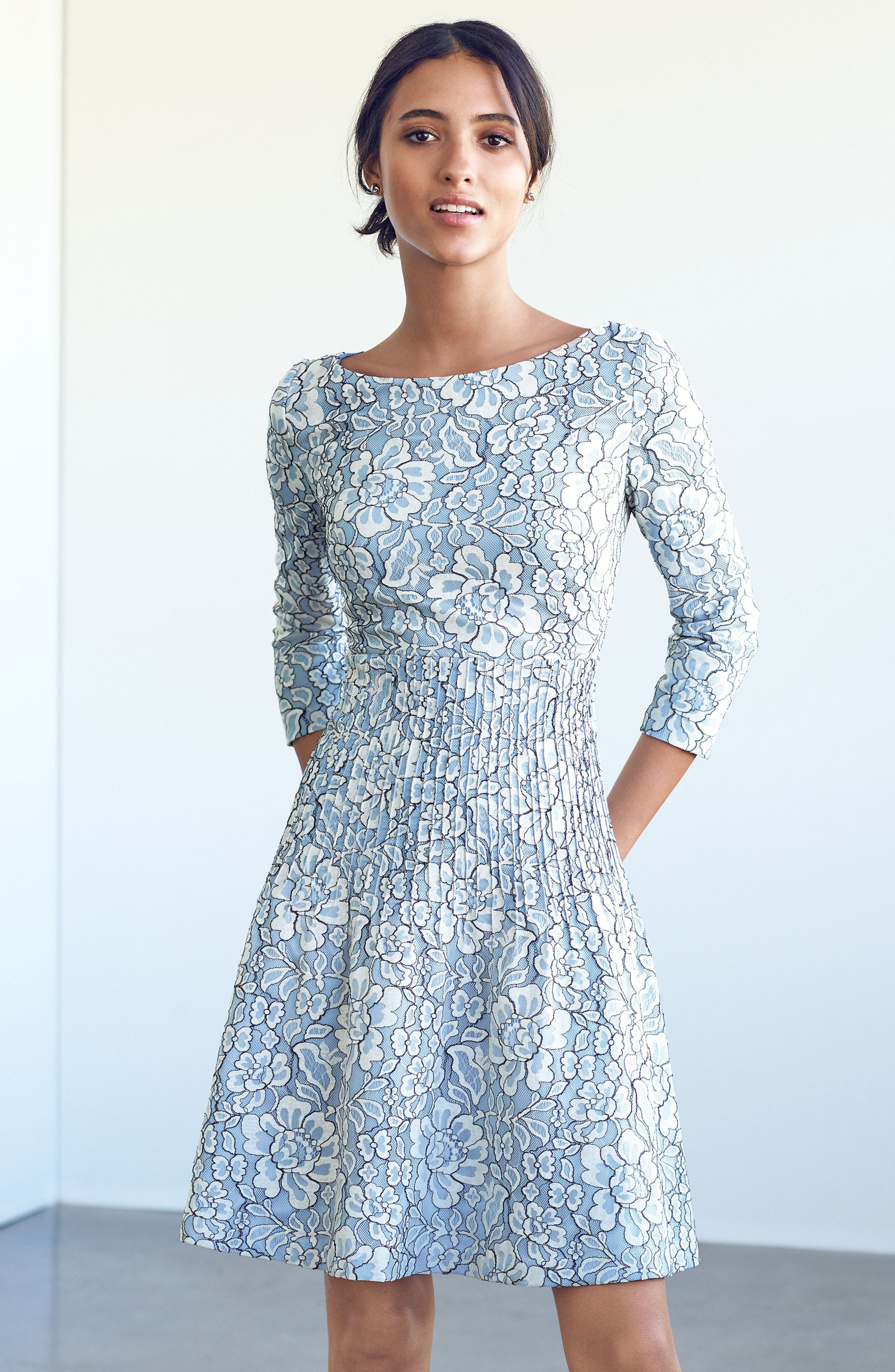 Embroidered Floral Fit & Flare Dress,                             Alternate thumbnail 2, color,                             Ivory/ Blue