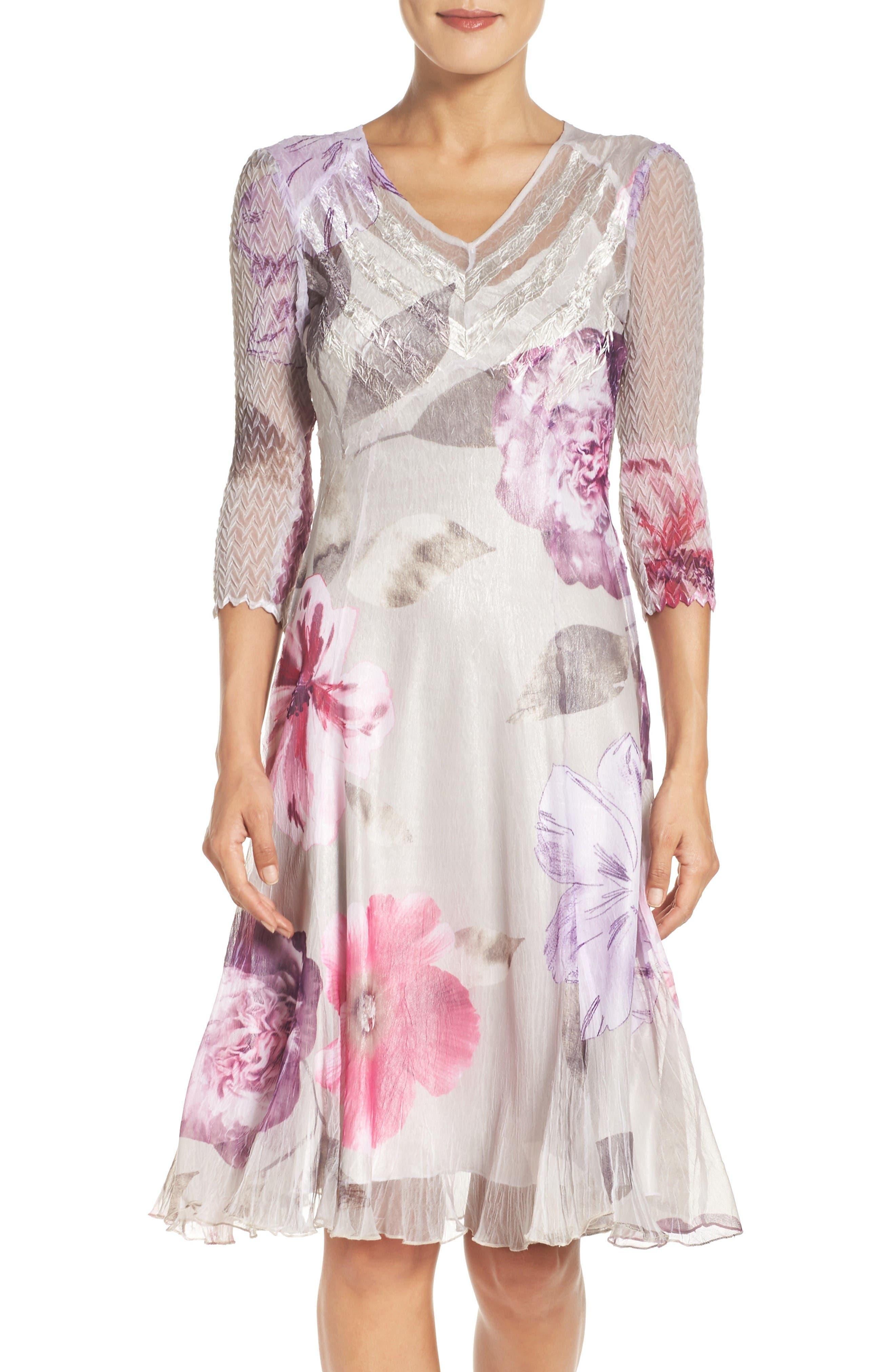 Komarov Chiffon A-Line Dress (Regular & Petite)