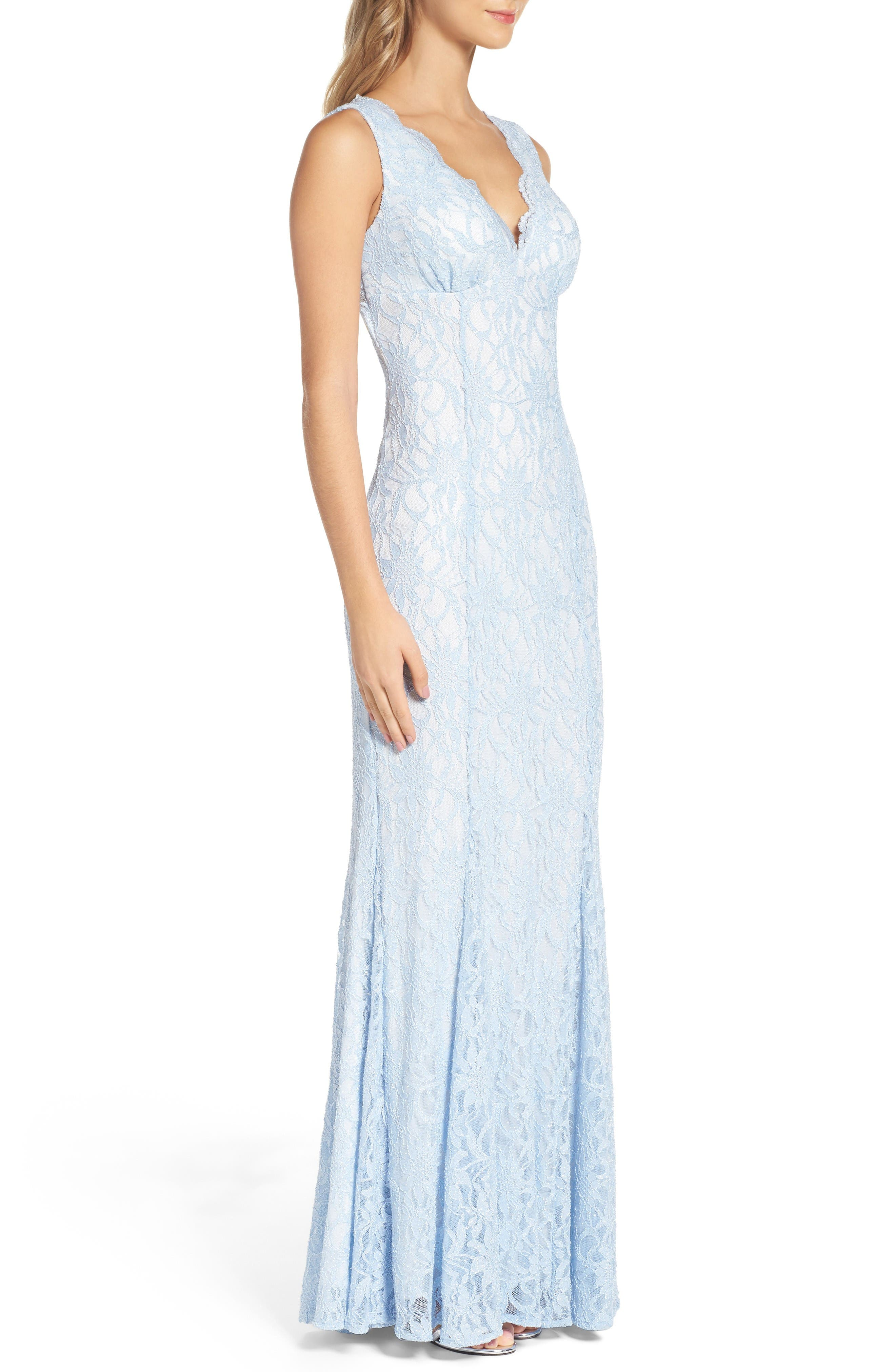 Glitter Lace Gown,                             Alternate thumbnail 3, color,                             Ice Blue/ Ivory