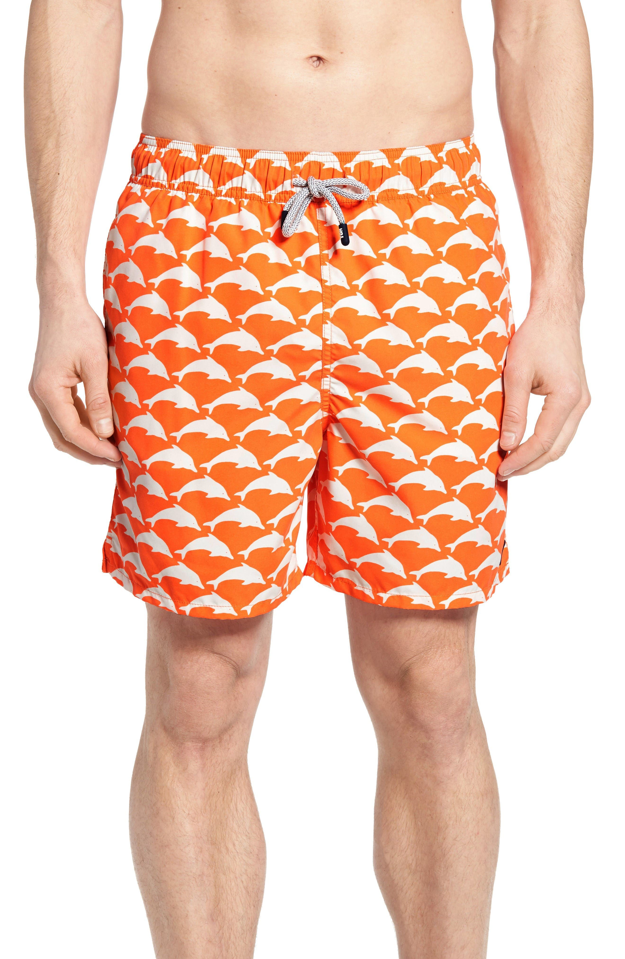 Dolphin Print Swim Trunks,                             Main thumbnail 1, color,                             Orange White