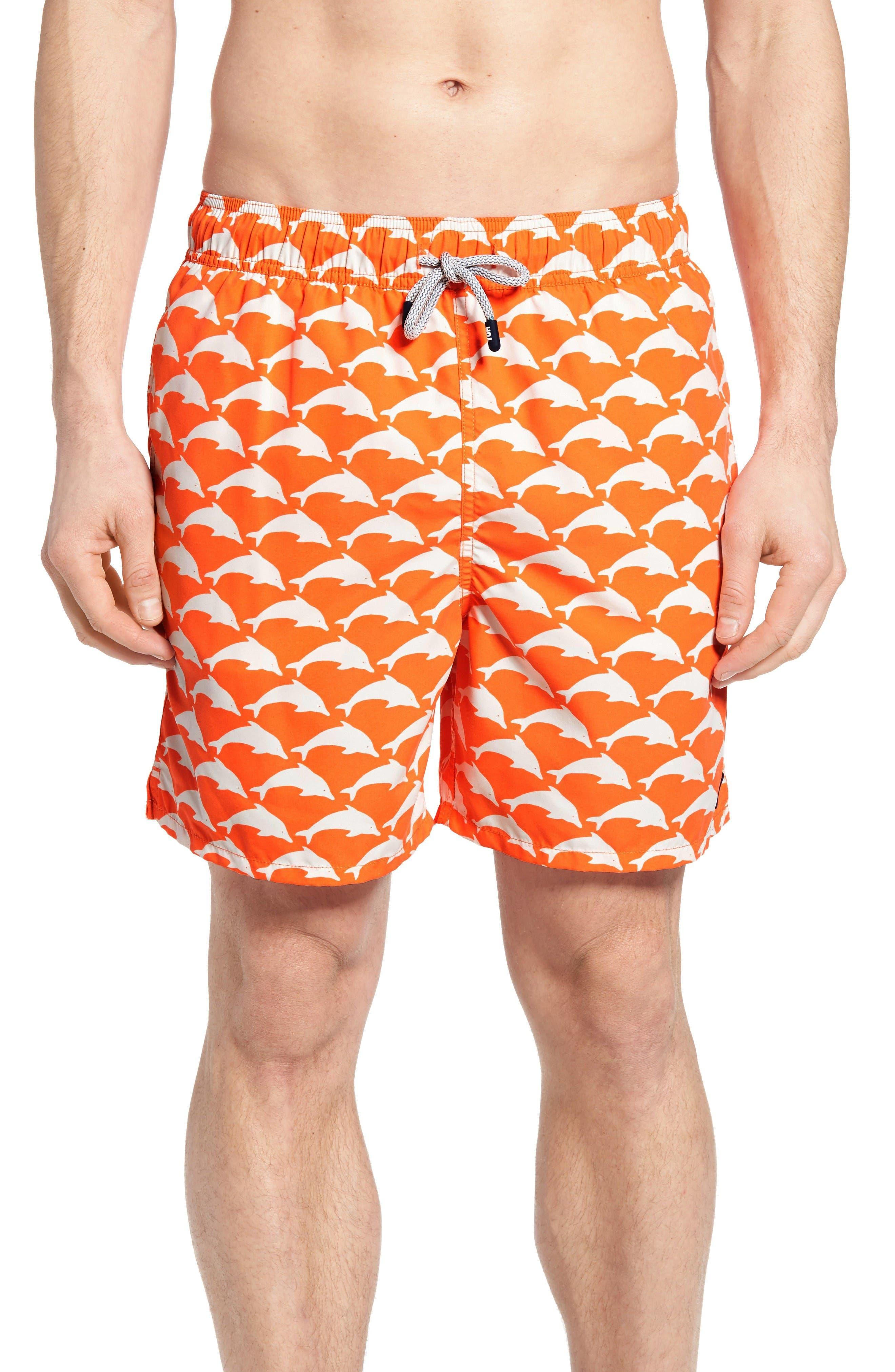 Dolphin Print Swim Trunks,                         Main,                         color, Orange White