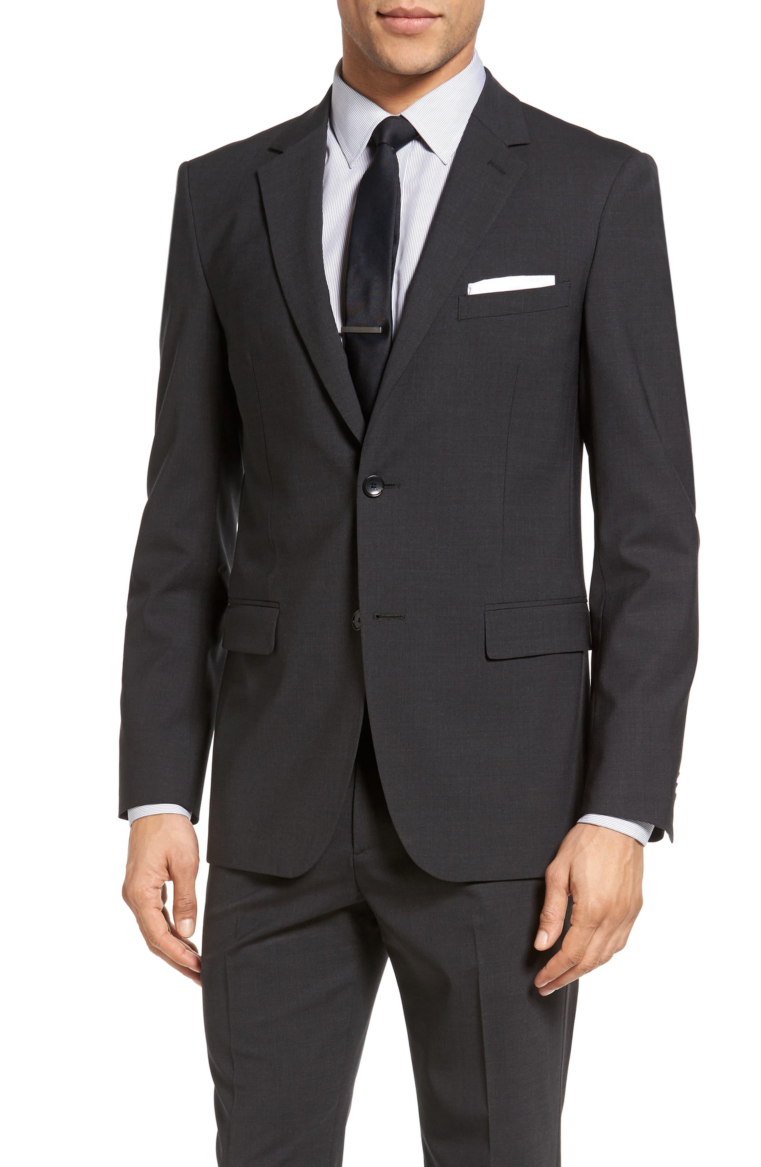 Wellar New Tailor 1 Trim Fit Stretch Wool Sport Coat,                         Main,                         color, Dark Charcoal