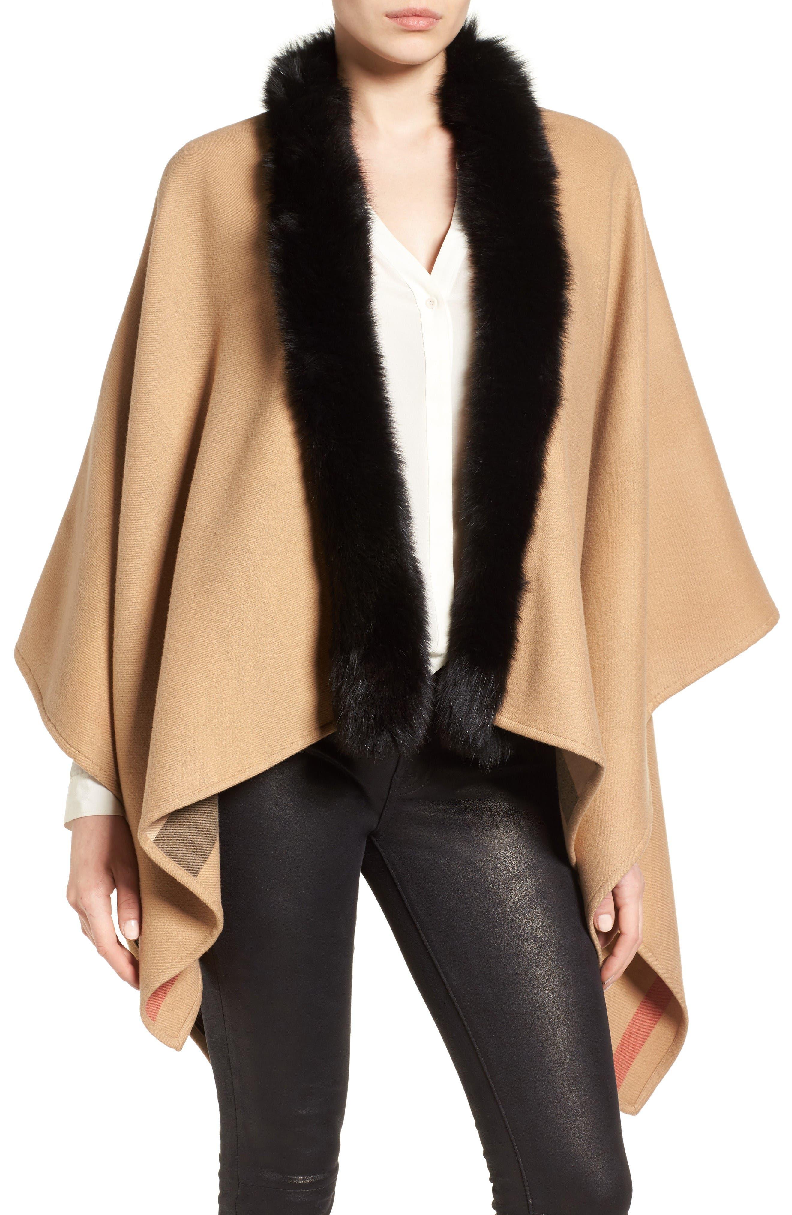 BURBERRY Charlotte Genuine Fox Fur Trim Reversible Cape