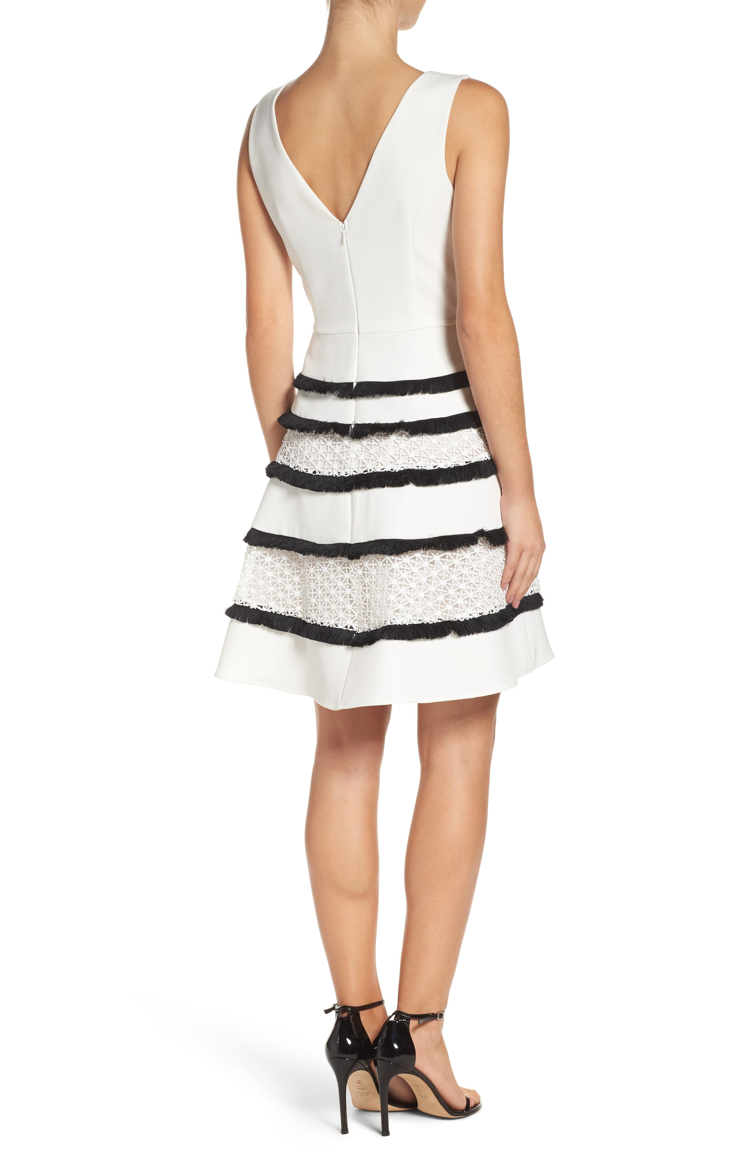 Stripe Fit & Flare Dress,                             Alternate thumbnail 2, color,                             White