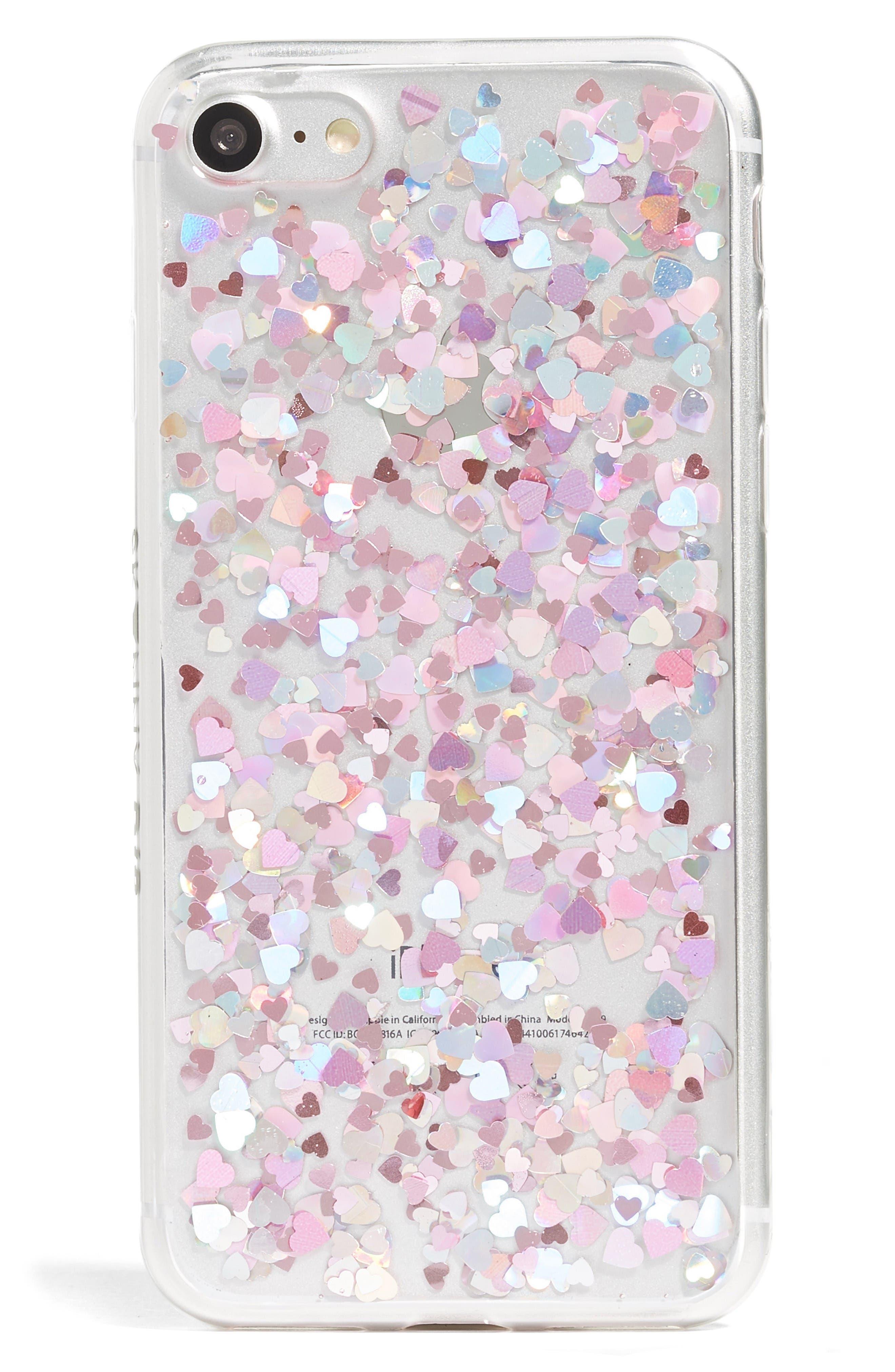 Main Image - Skinnydip Heart Sequin iPhone 7 Case