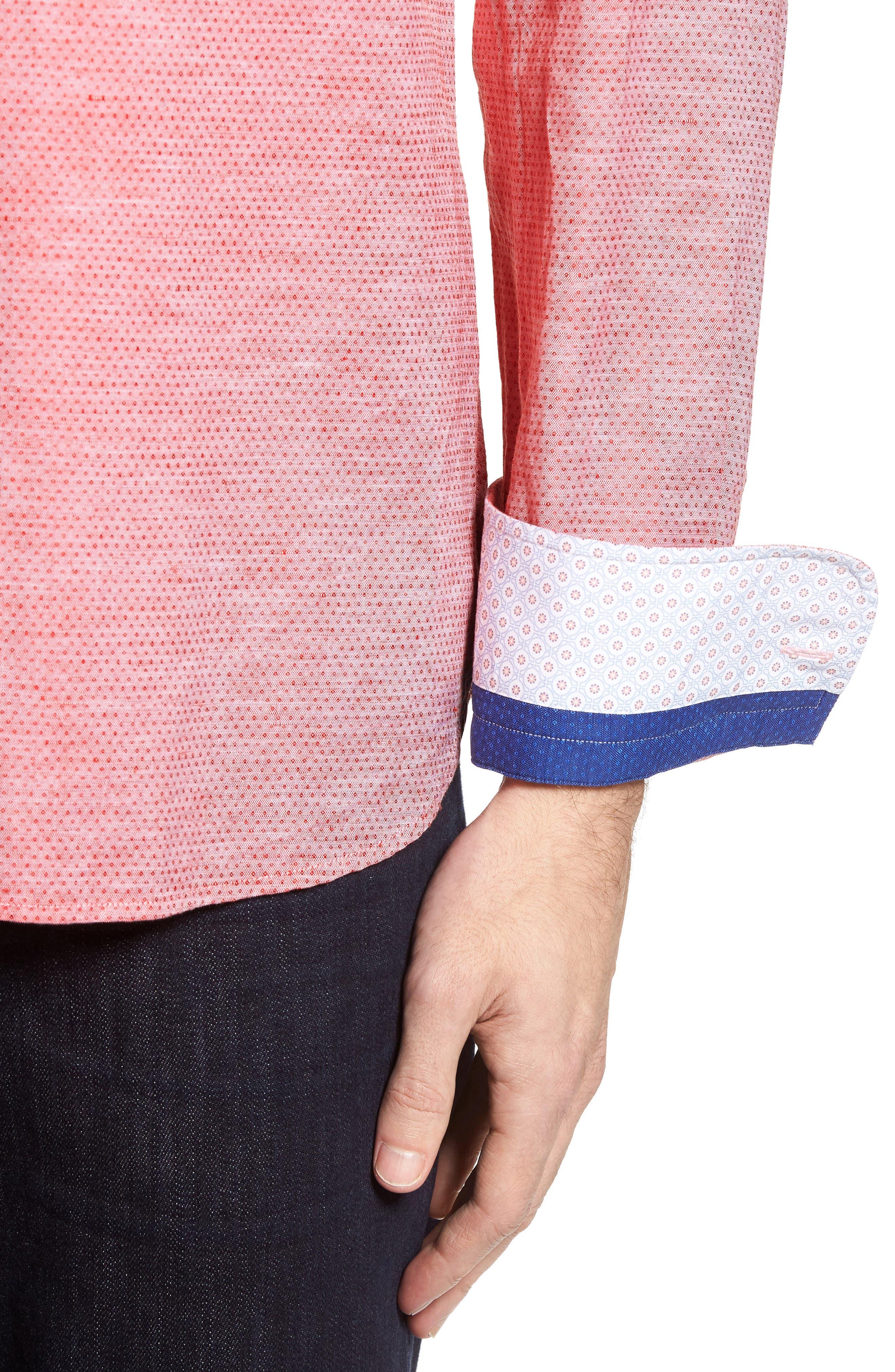 Dobby Cotton & Linen Sport Shirt,                             Alternate thumbnail 4, color,                             Coral