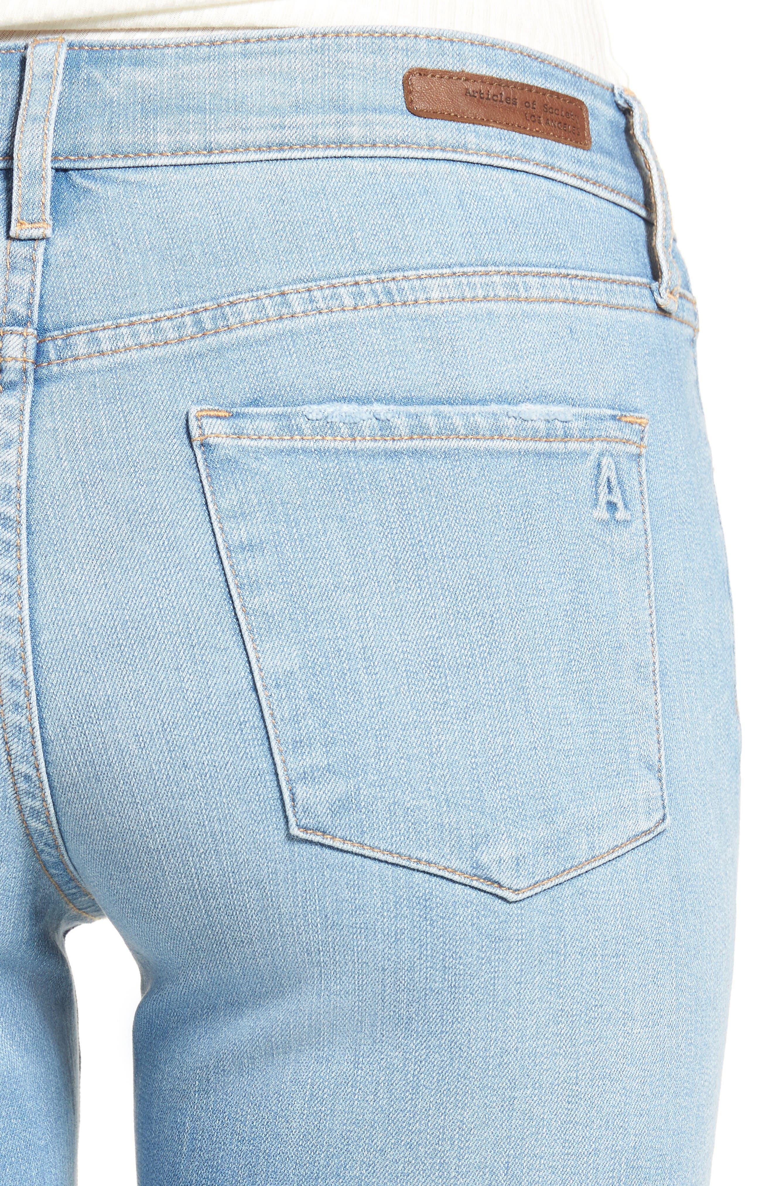 Alternate Image 4  - Articles of Society Sarah Skinny Jeans (Bay)