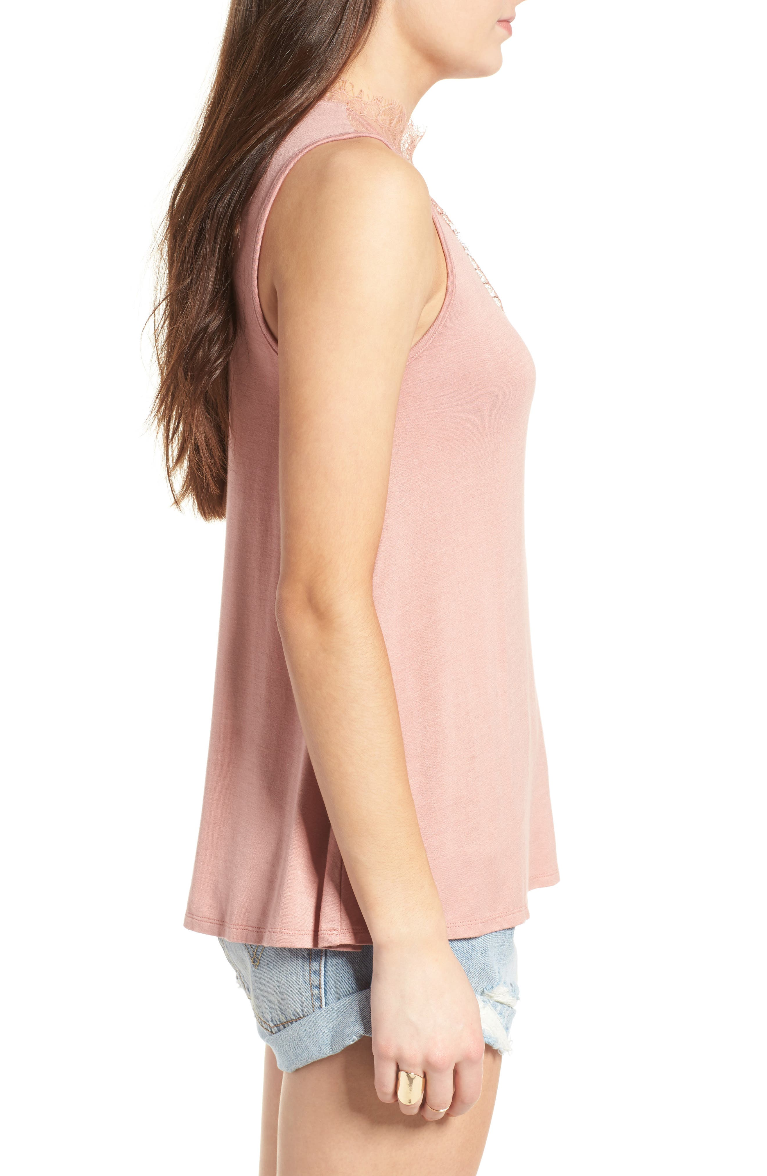 Lace Inset Tank,                             Alternate thumbnail 3, color,                             Coral Beach