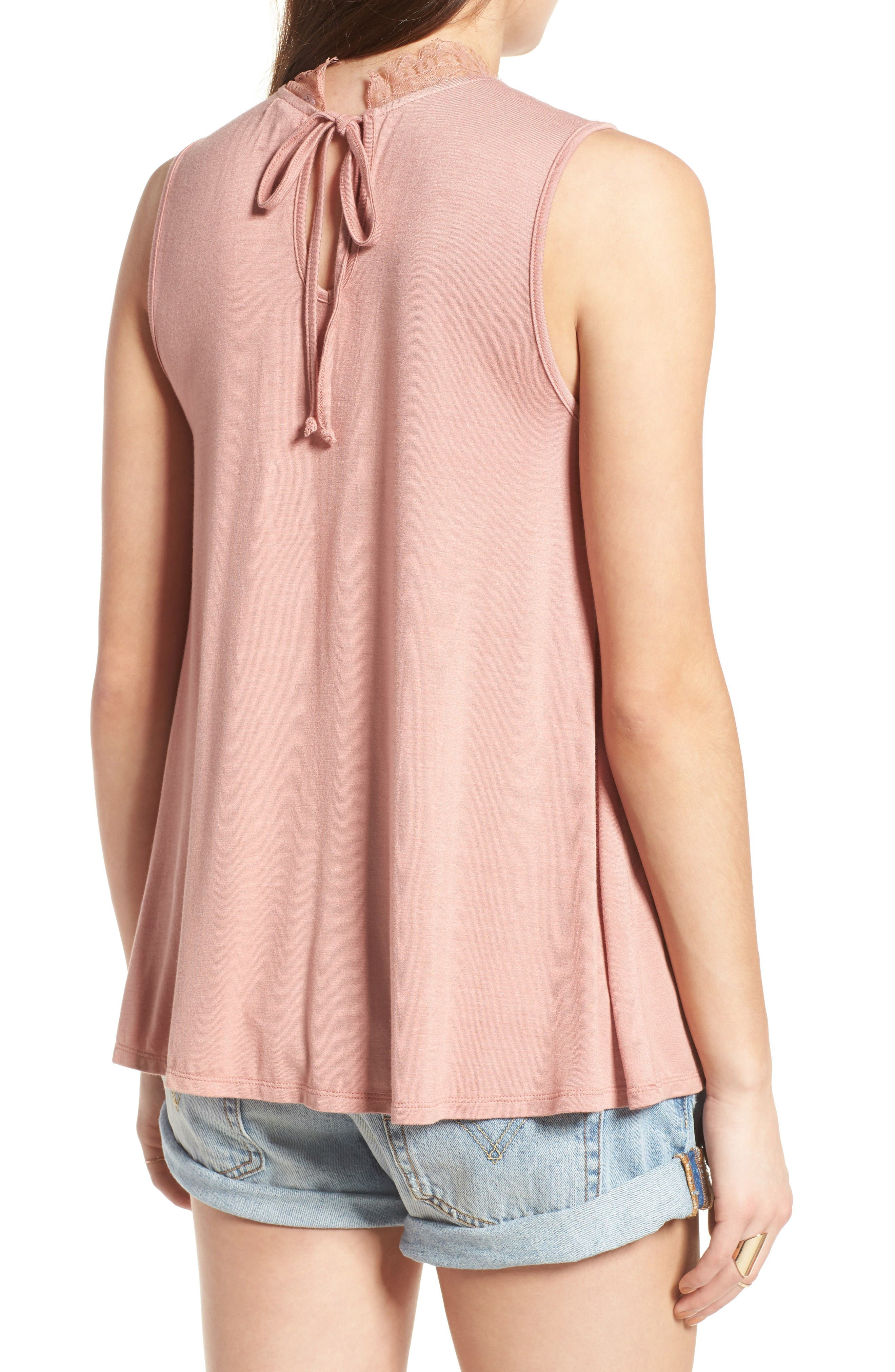 Lace Inset Tank,                             Alternate thumbnail 2, color,                             Coral Beach