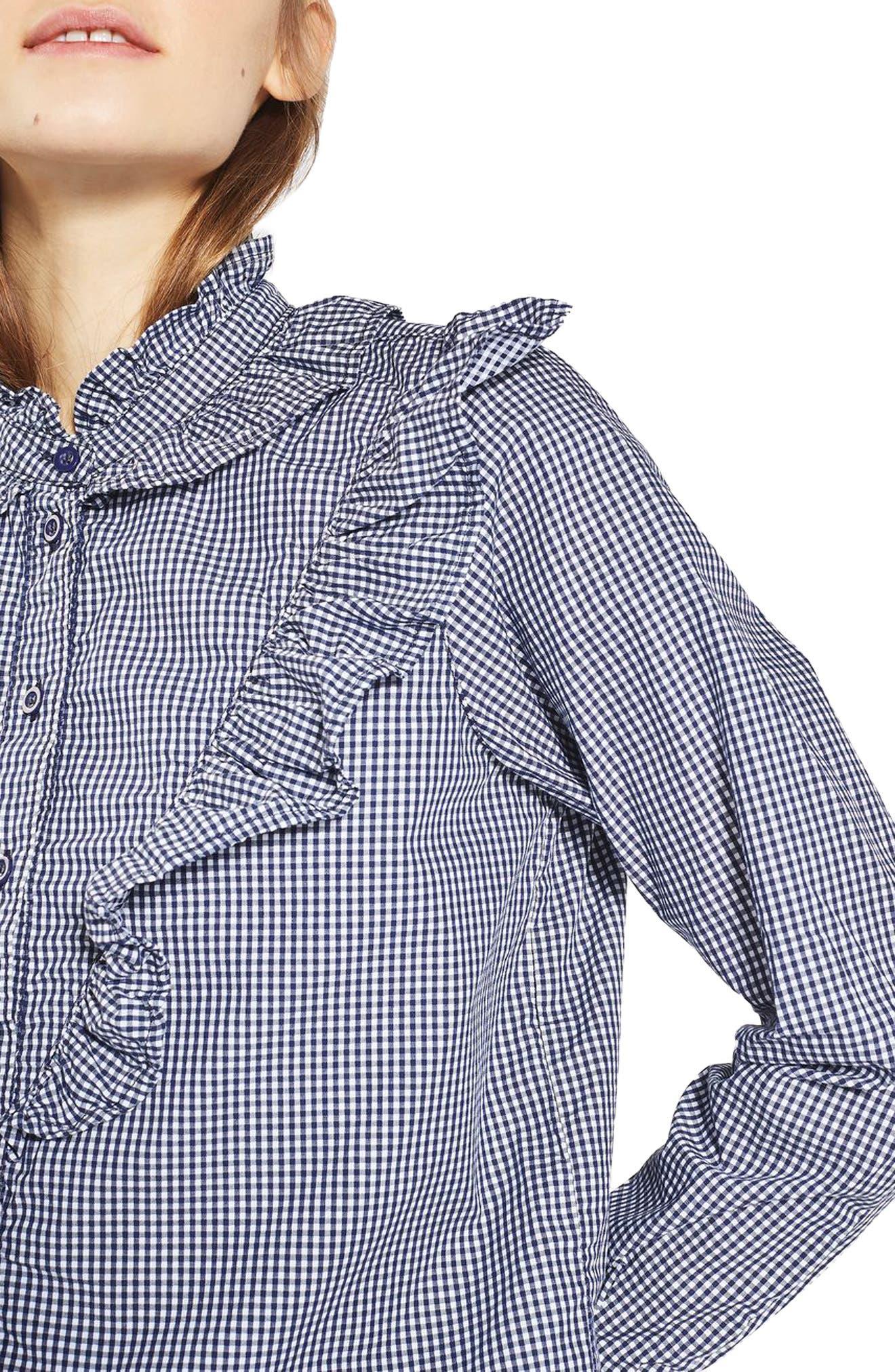 Alternate Image 5  - Topshop Moto Ruffle Gingham Shirt