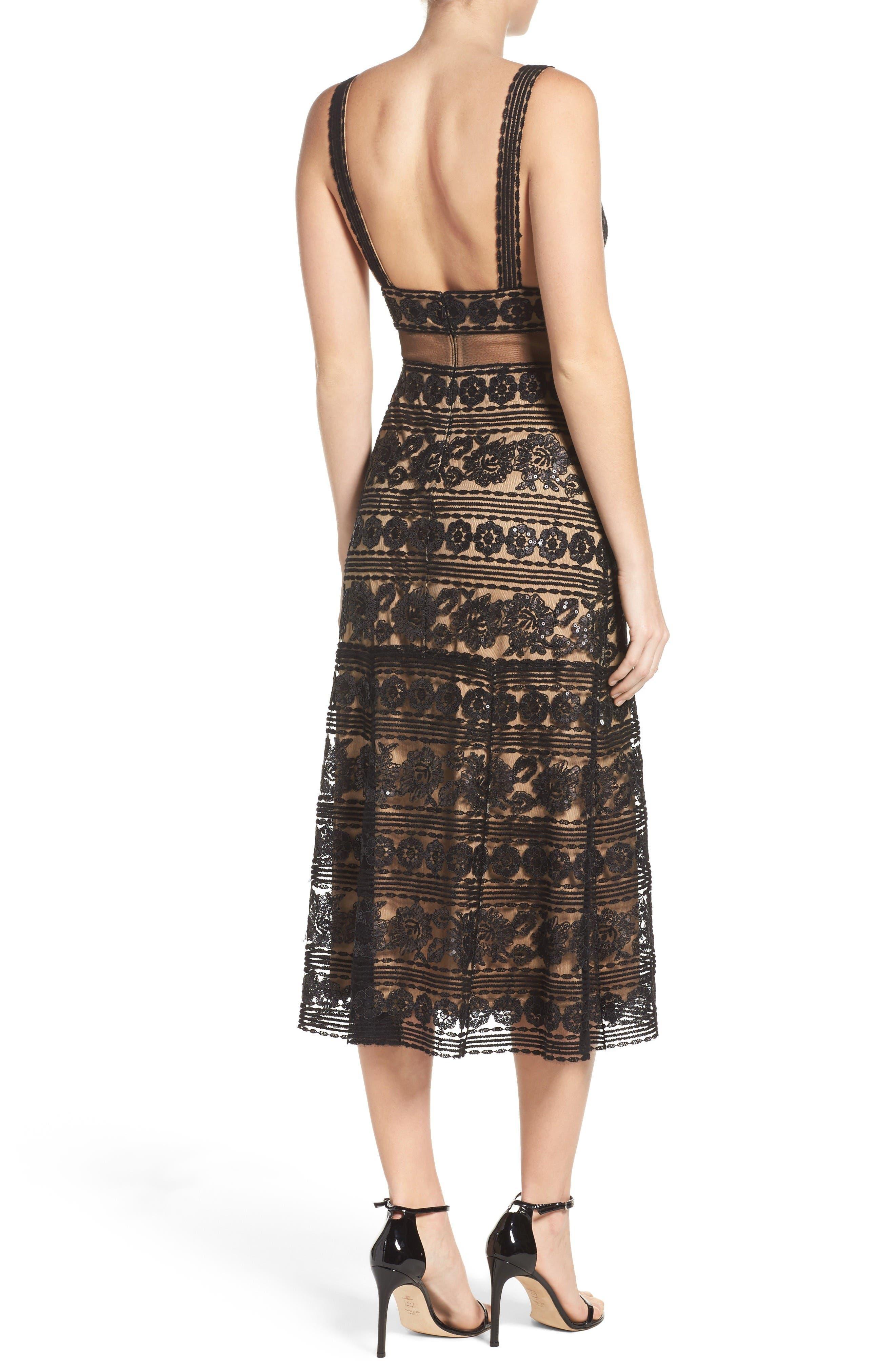 Alternate Image 2  - Tadashi Shoji Deep V Lace Midi Dress