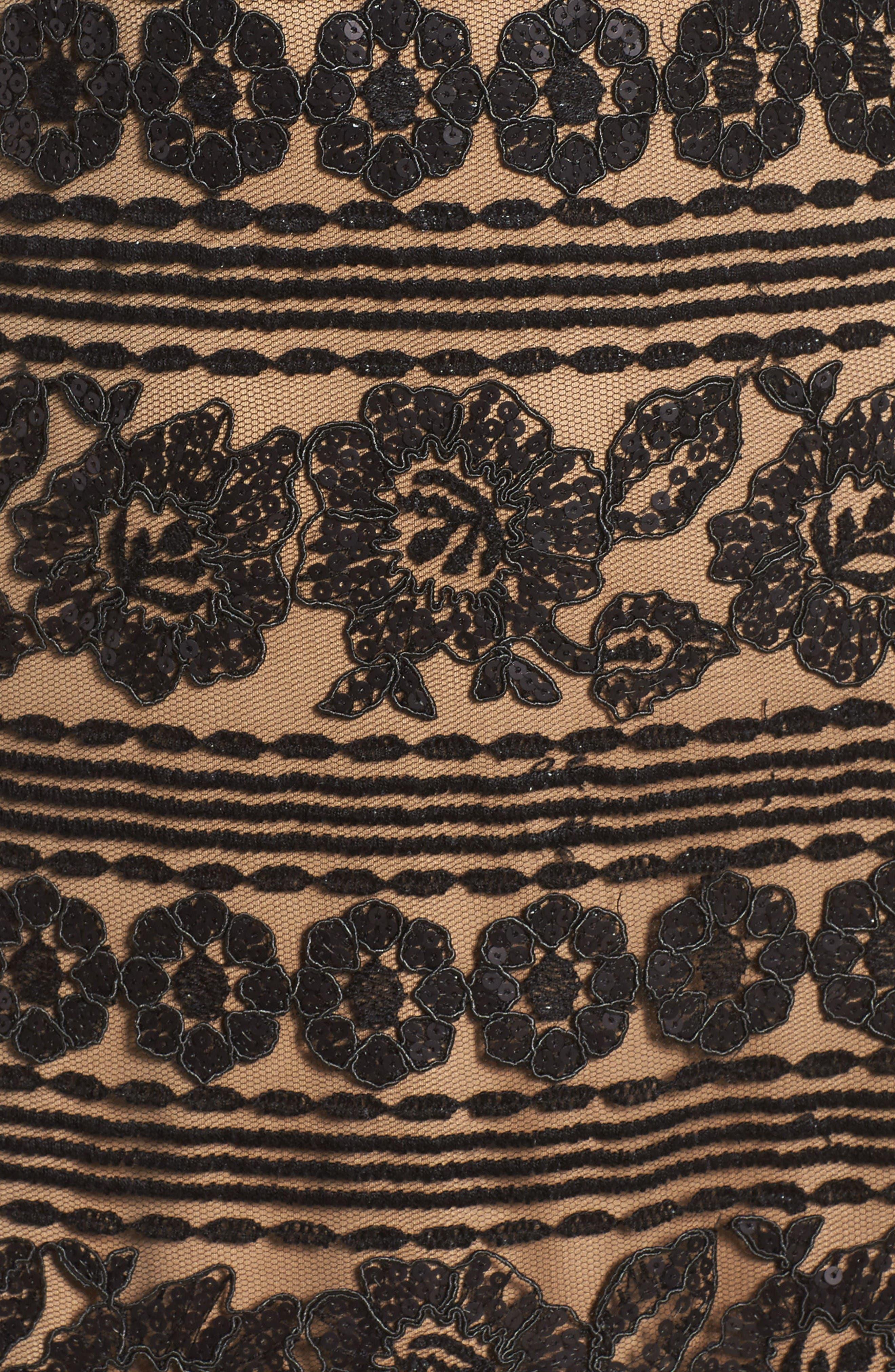 Alternate Image 5  - Tadashi Shoji Deep V Lace Midi Dress