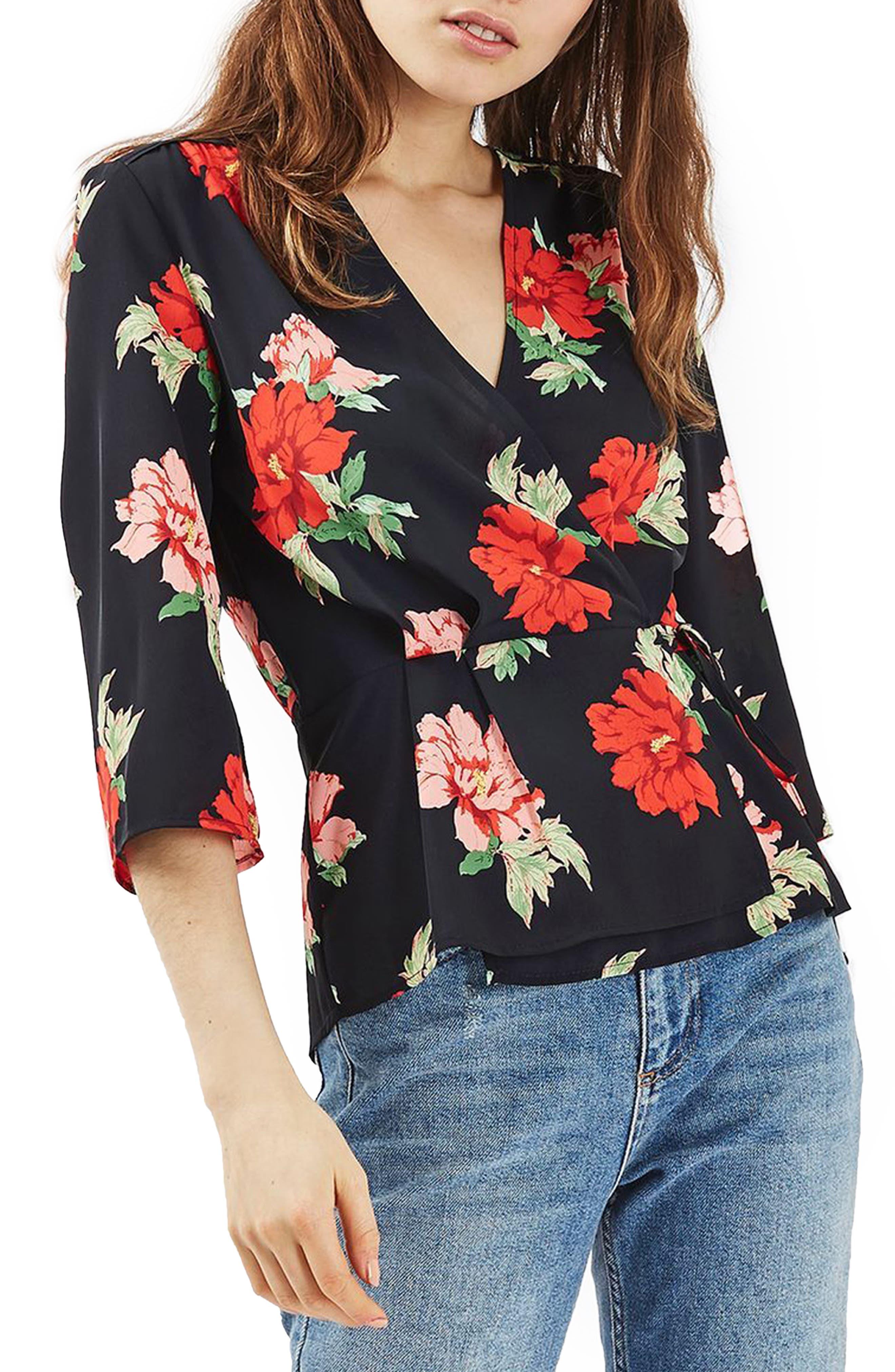Alternate Image 1 Selected - Topshop Rita Floral Wrap Top