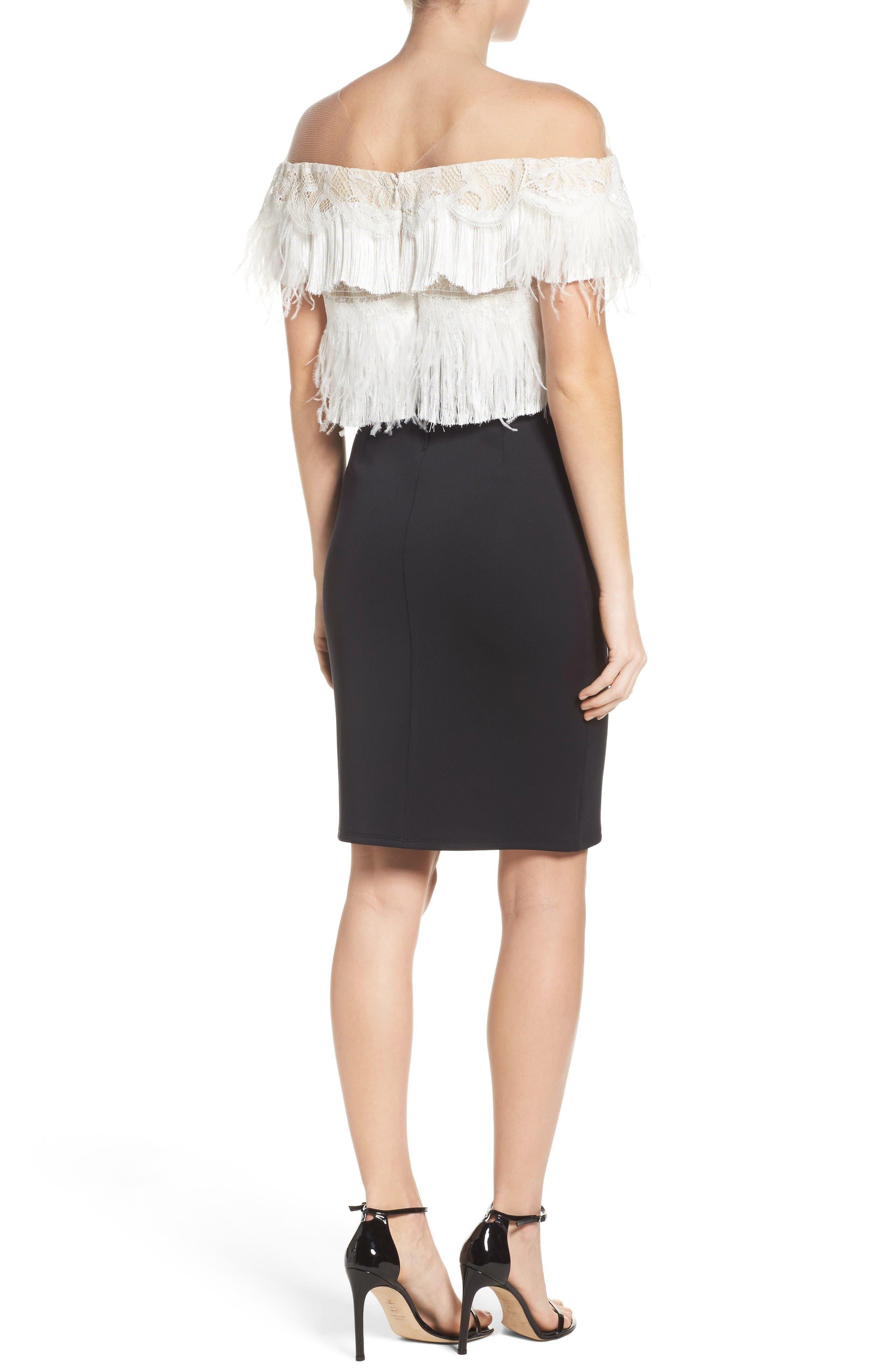 Off the Shoulder Sheath Dress,                             Alternate thumbnail 2, color,                             Black/ Ivory