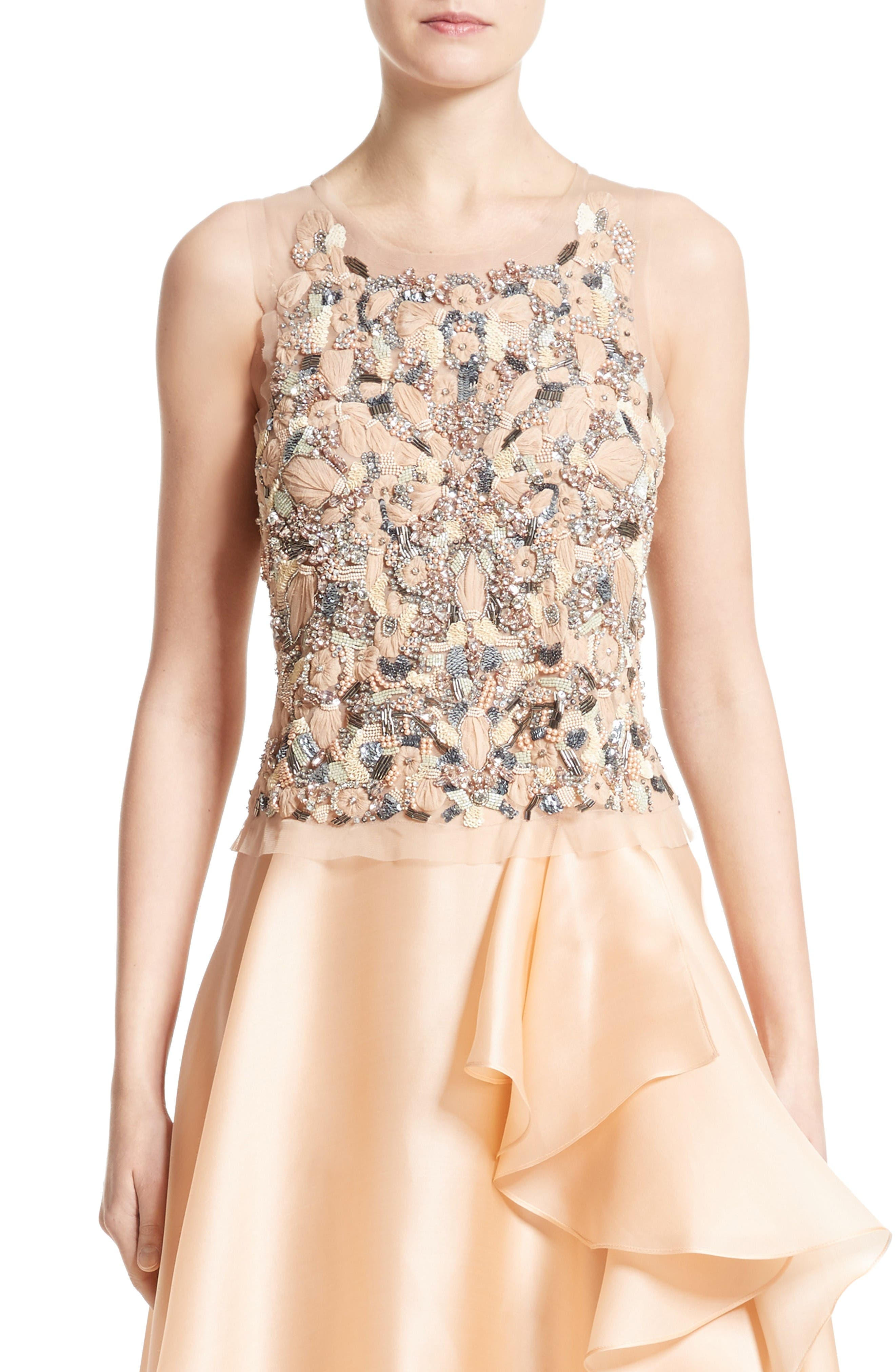 Badgley Mischka Couture Beaded Top,                             Main thumbnail 1, color,                             Peach