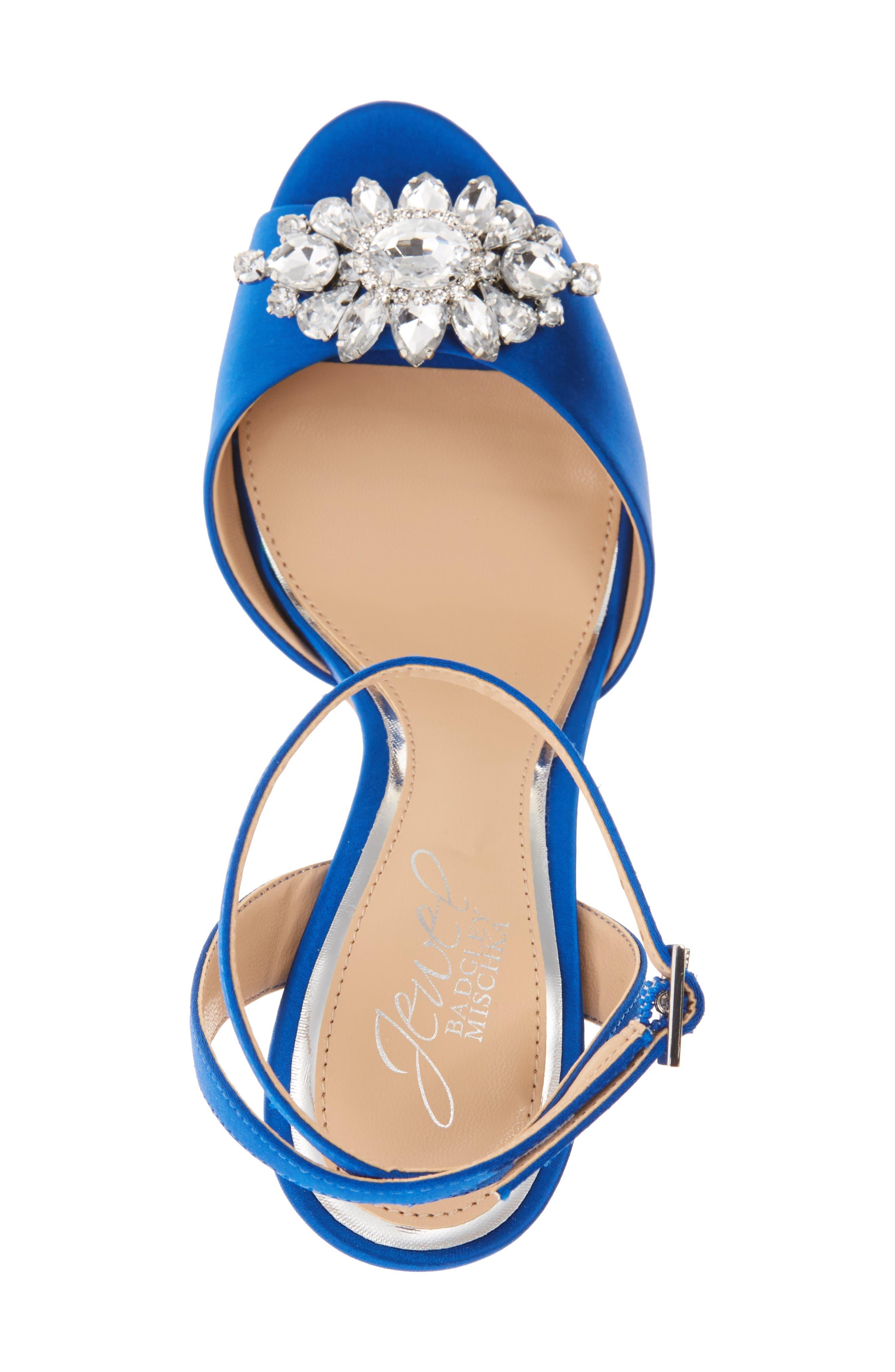 Hayden Embellished Ankle Strap Sandal,                             Alternate thumbnail 3, color,                             Blue Satin