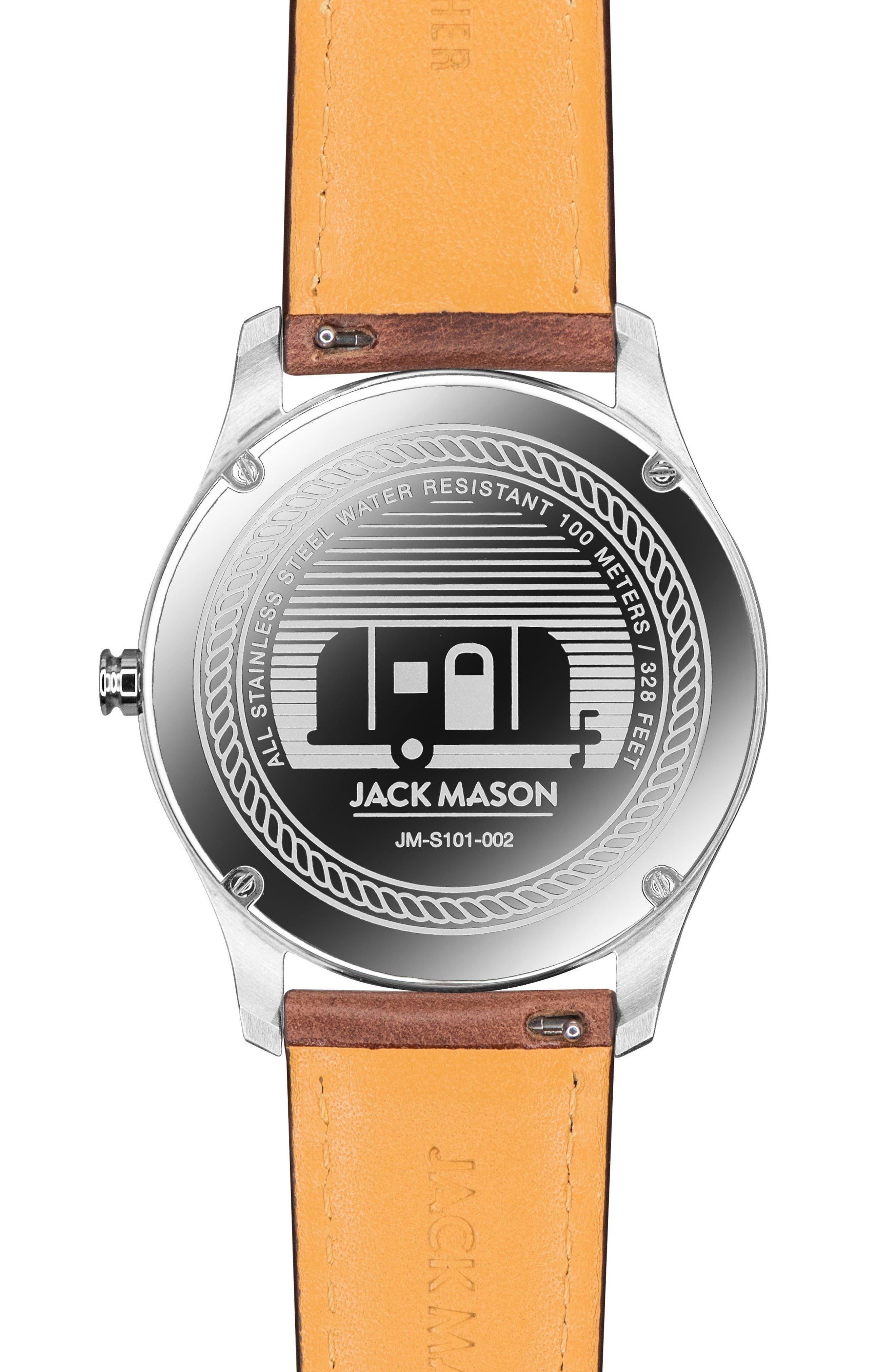 Alternate Image 2  - Jack Mason Slim Leather Strap Watch, 42mm