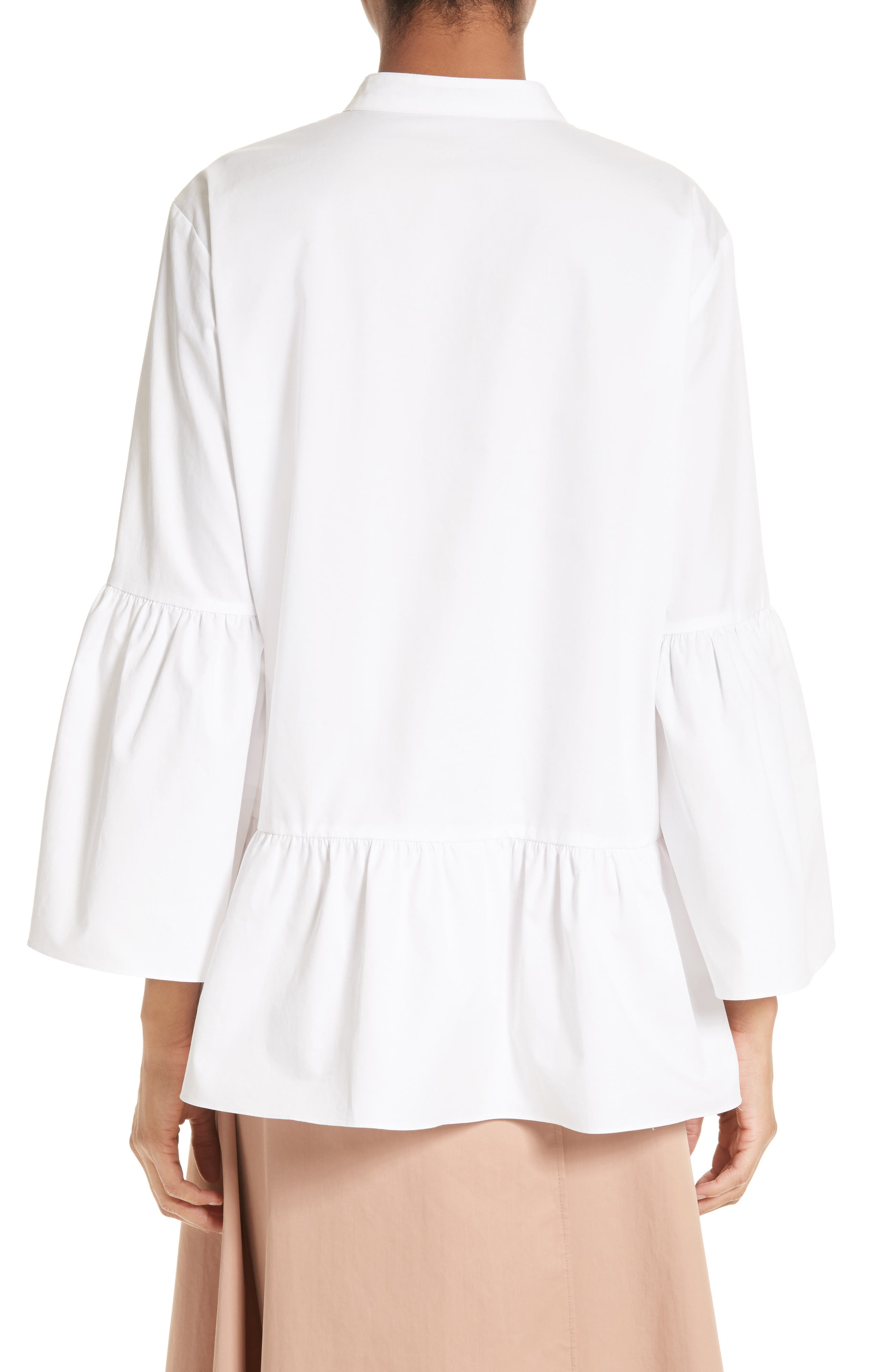Shirred Satin Poplin Shirt,                             Alternate thumbnail 3, color,                             White