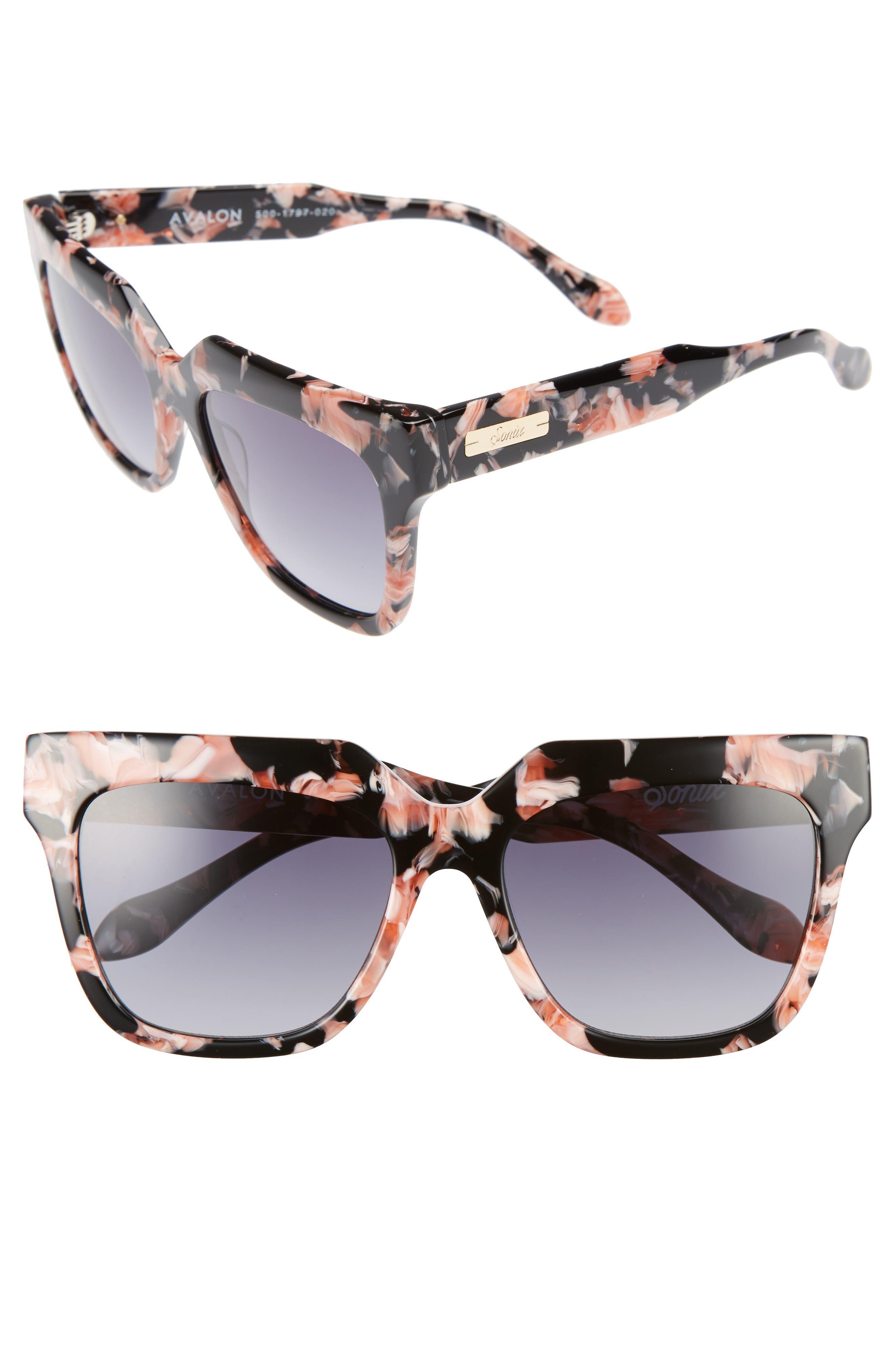 Avalon 57mm Retro Sunglasses,                         Main,                         color, Rose Marble/ Black Fade