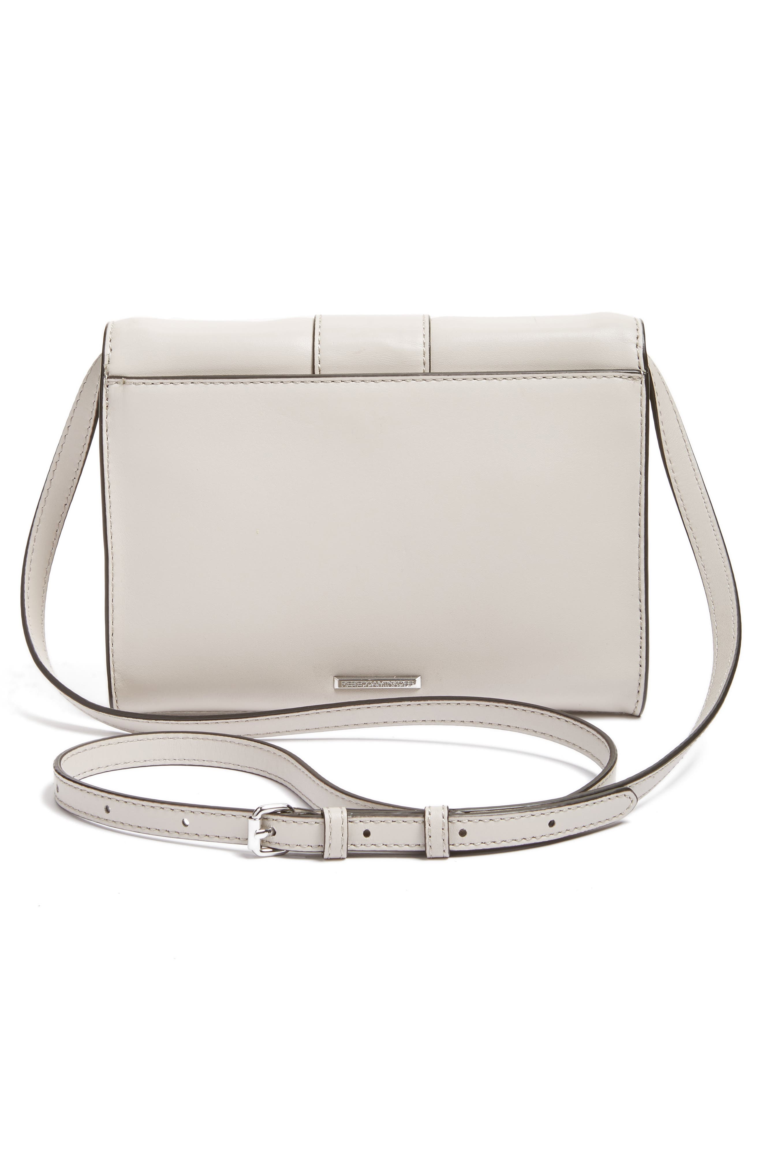 Hook Up Convertible Leather Clutch,                             Alternate thumbnail 3, color,                             Putty/ Silver