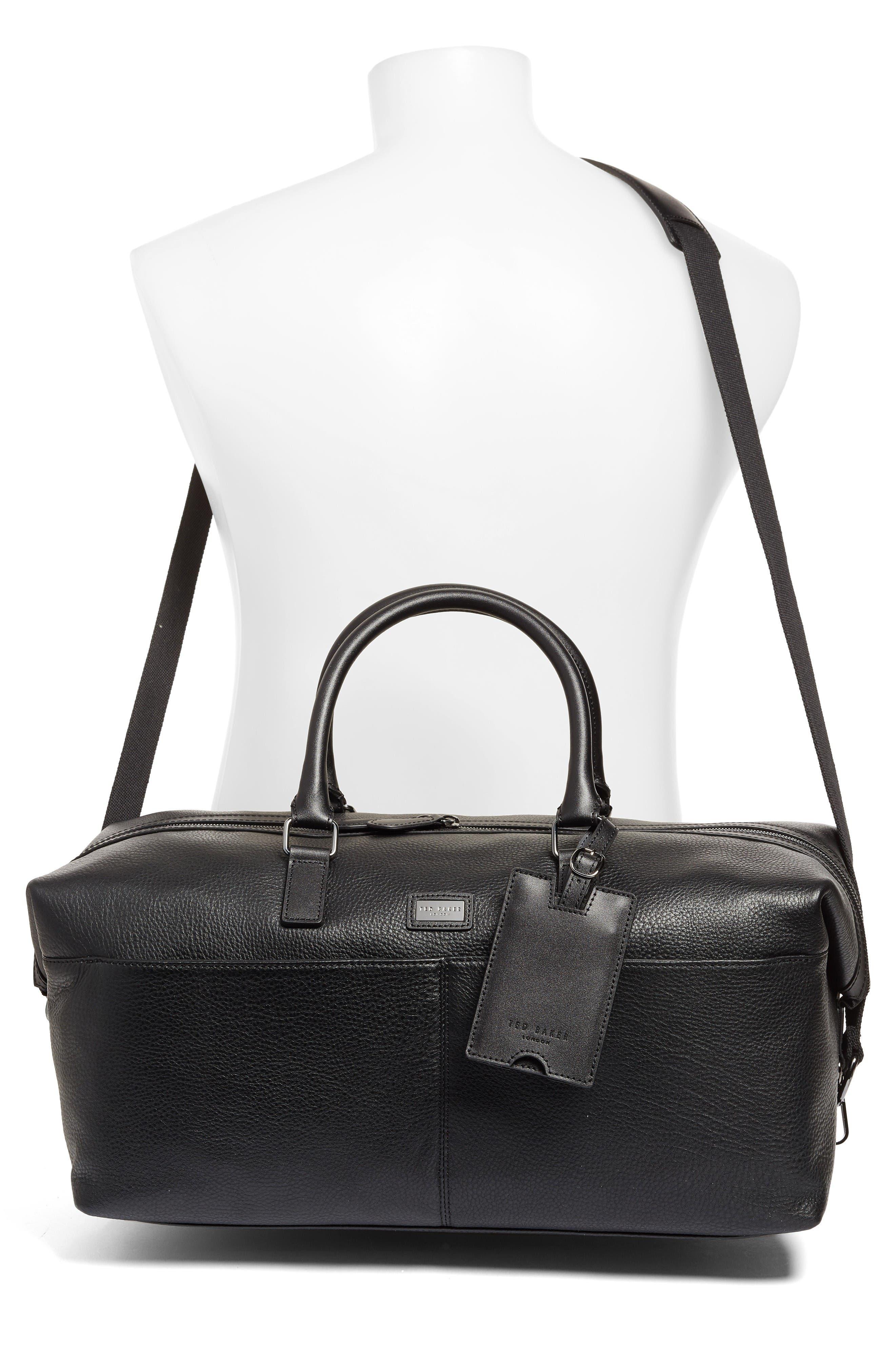 Leather Duffel Bag,                             Alternate thumbnail 2, color,                             Black