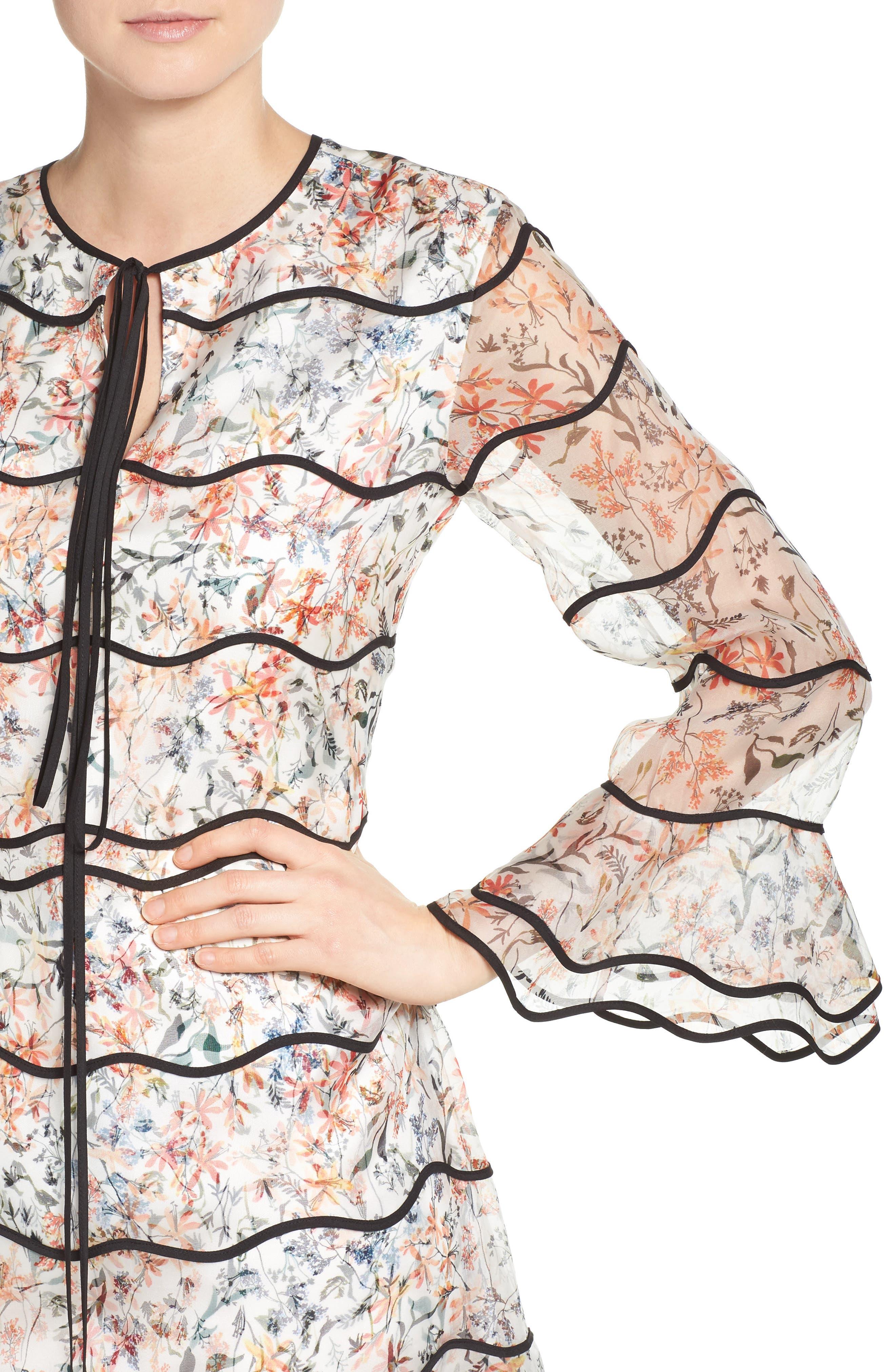 Svetlana Silk Trapeze Dress,                             Alternate thumbnail 4, color,                             Ivory