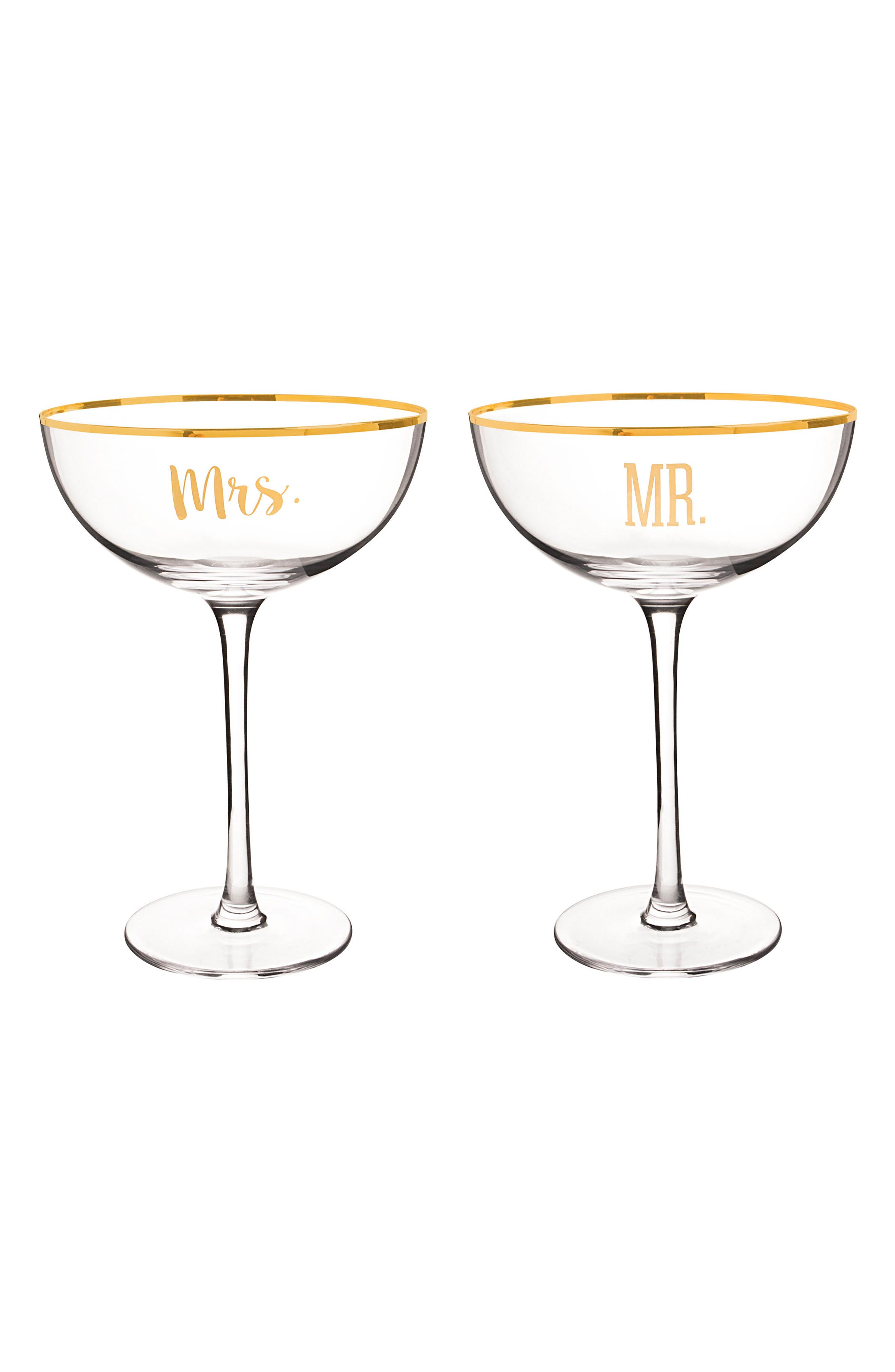 Mr. & Mrs. Set of 2 Champagne Coupe Toasting Glasses,                             Main thumbnail 1, color,                             Gold