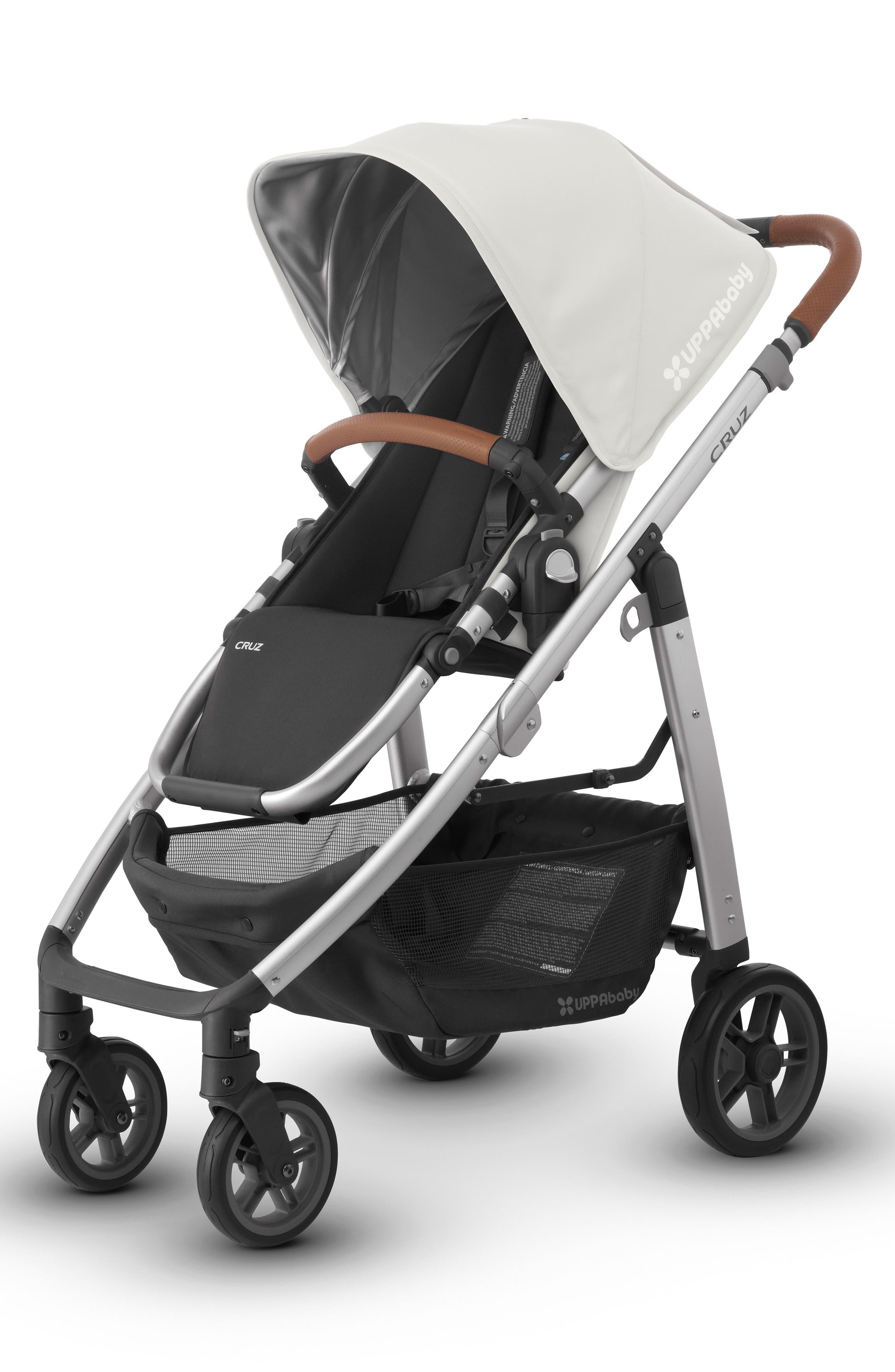 2018 CRUZ Aluminum Frame Stroller,                             Alternate thumbnail 3, color,                             White/ Silver