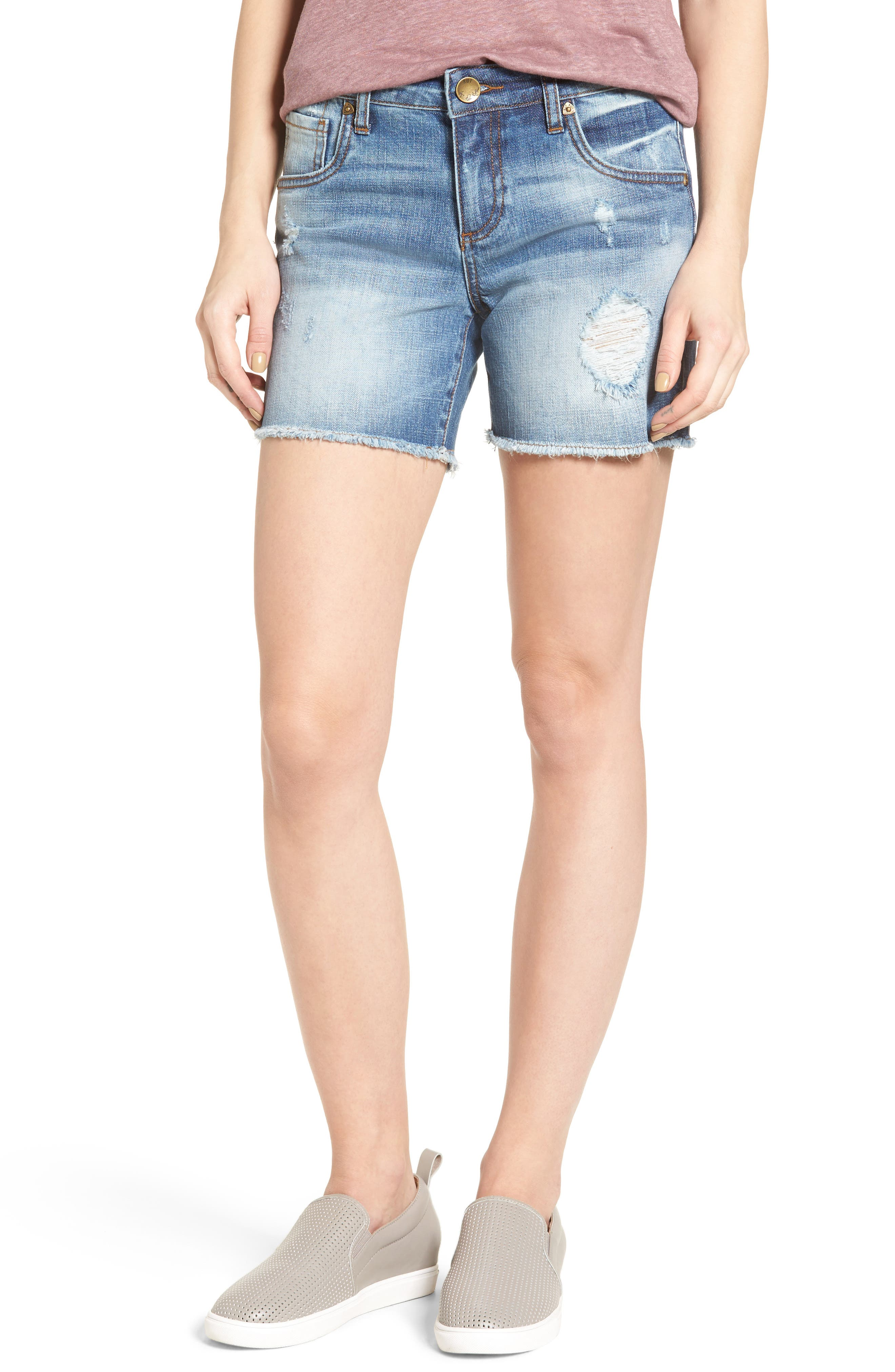 Main Image - KUT from the Kloth Gidget Frayed Hem Denim Shorts