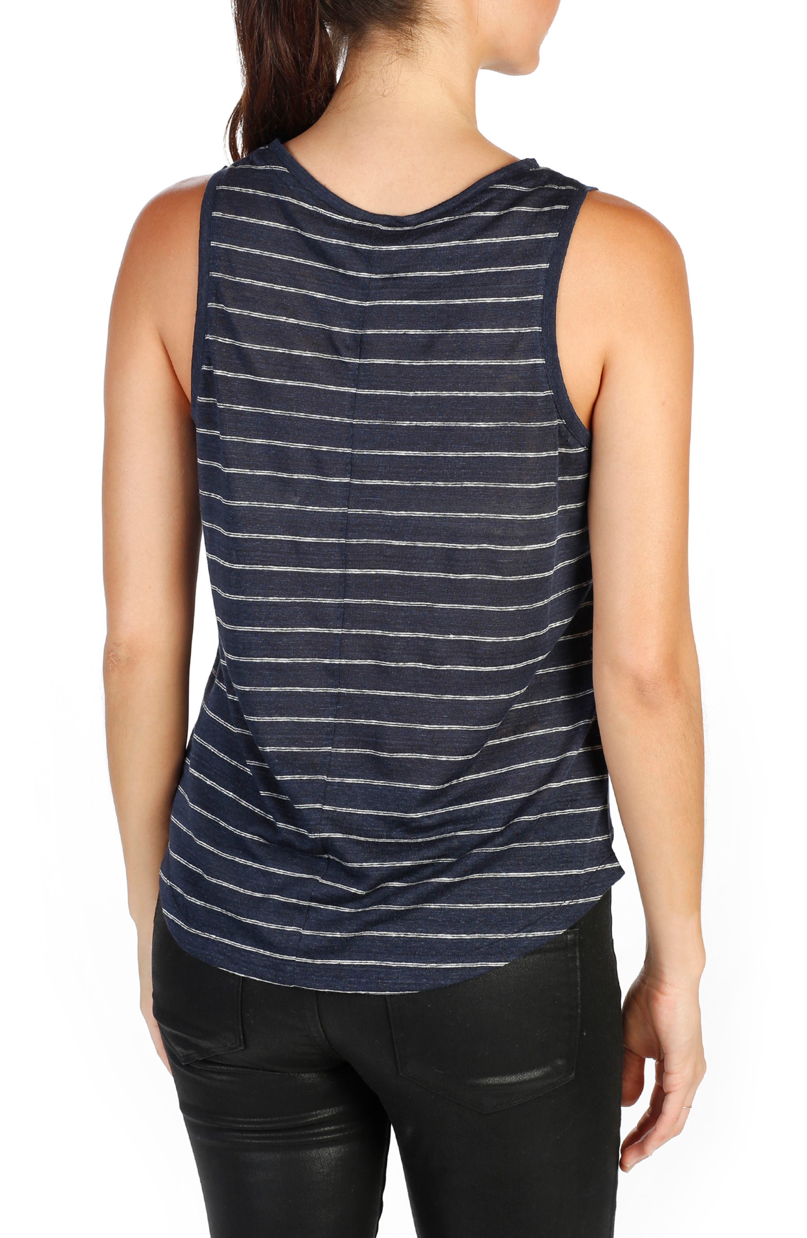 Analia Linen Tank,                             Alternate thumbnail 2, color,                             Dark Ink Blue/ White